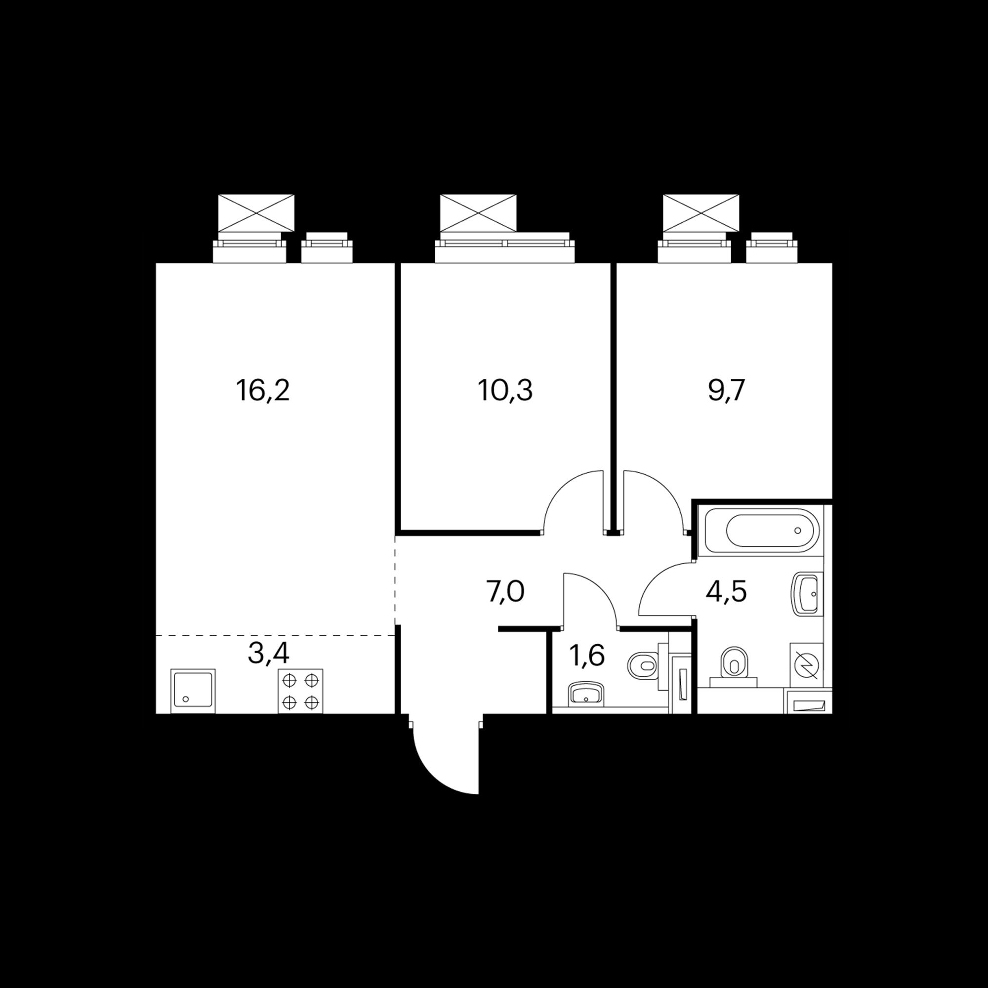 3-комнатная 52.4  м²