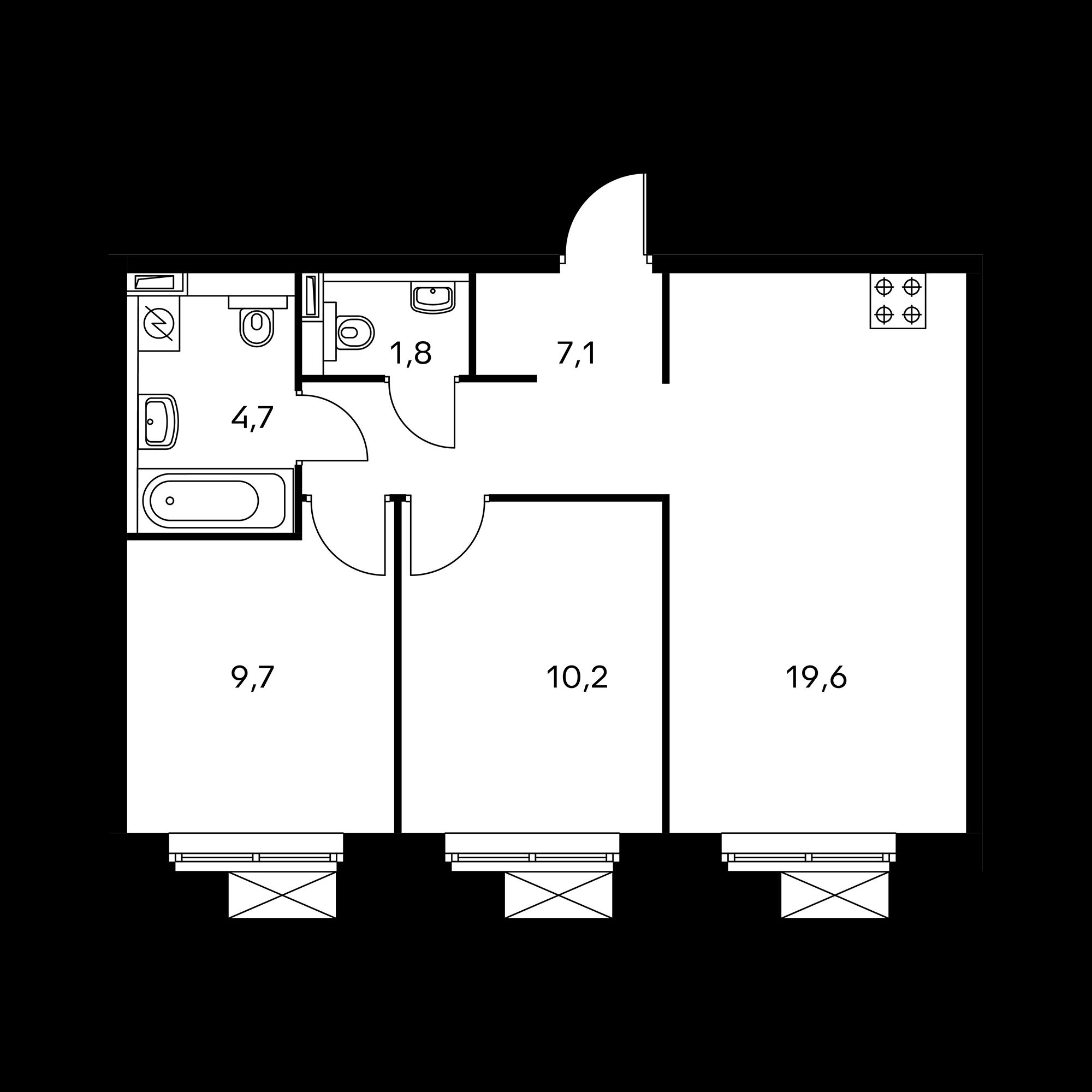 2-комнатная 53.1  м²