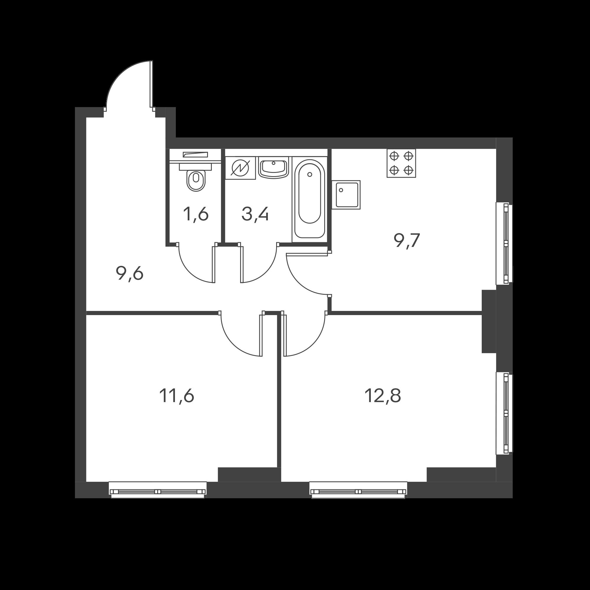 2-комнатная 48.7 м²
