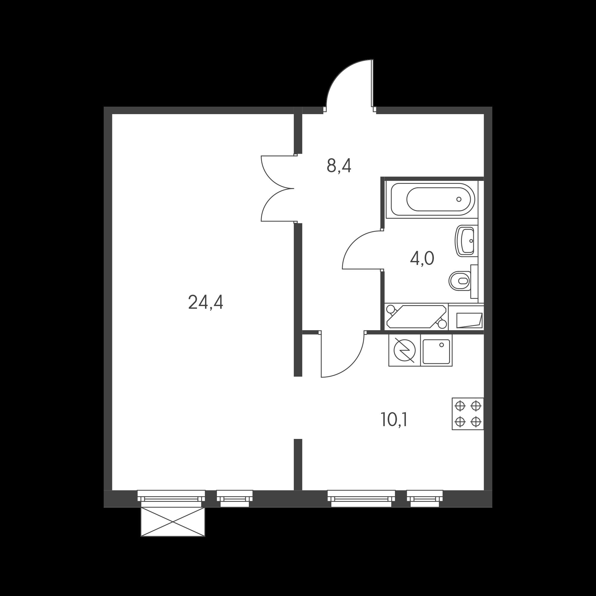 1-комнатная 46.8 м²