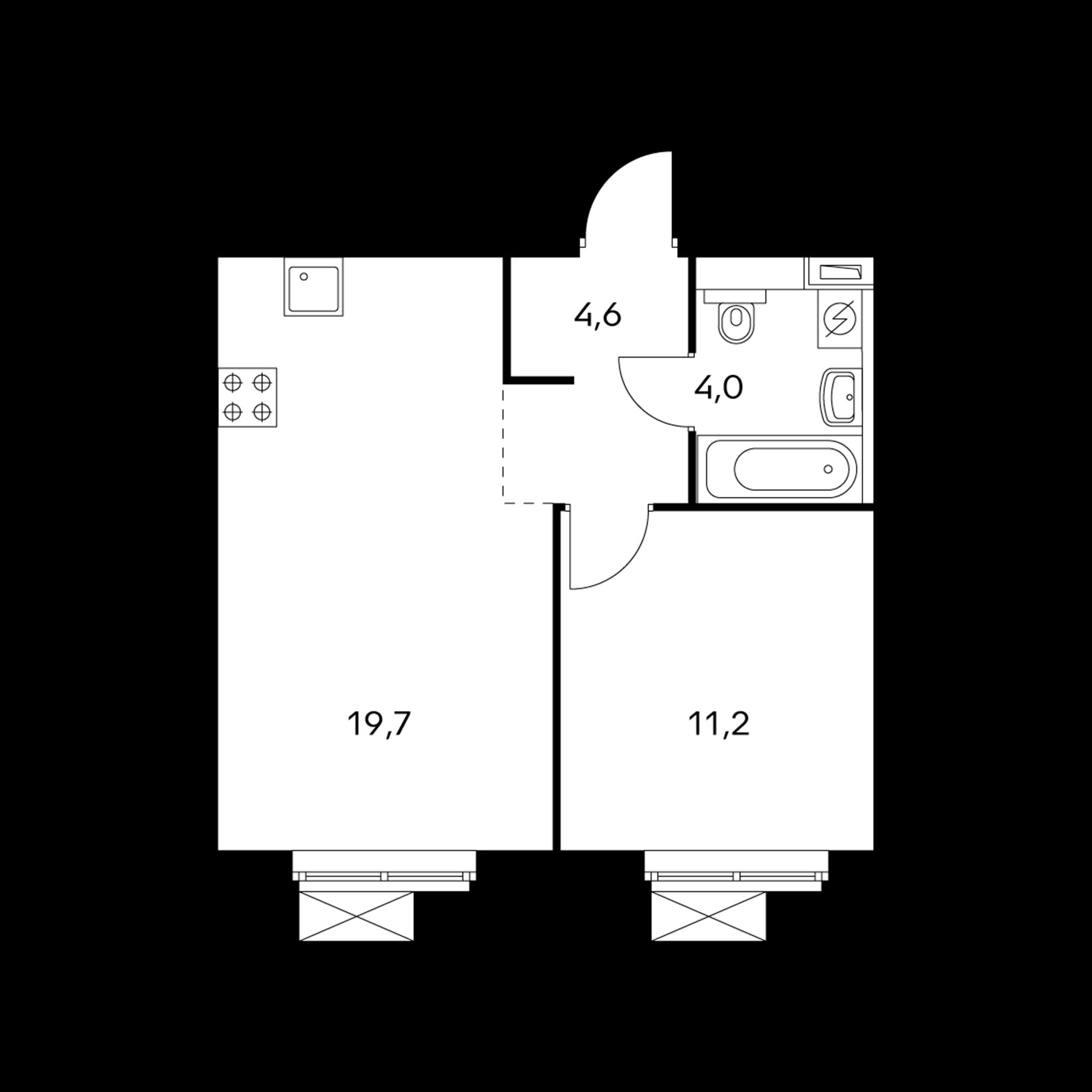 1-комнатная 39.2  м²
