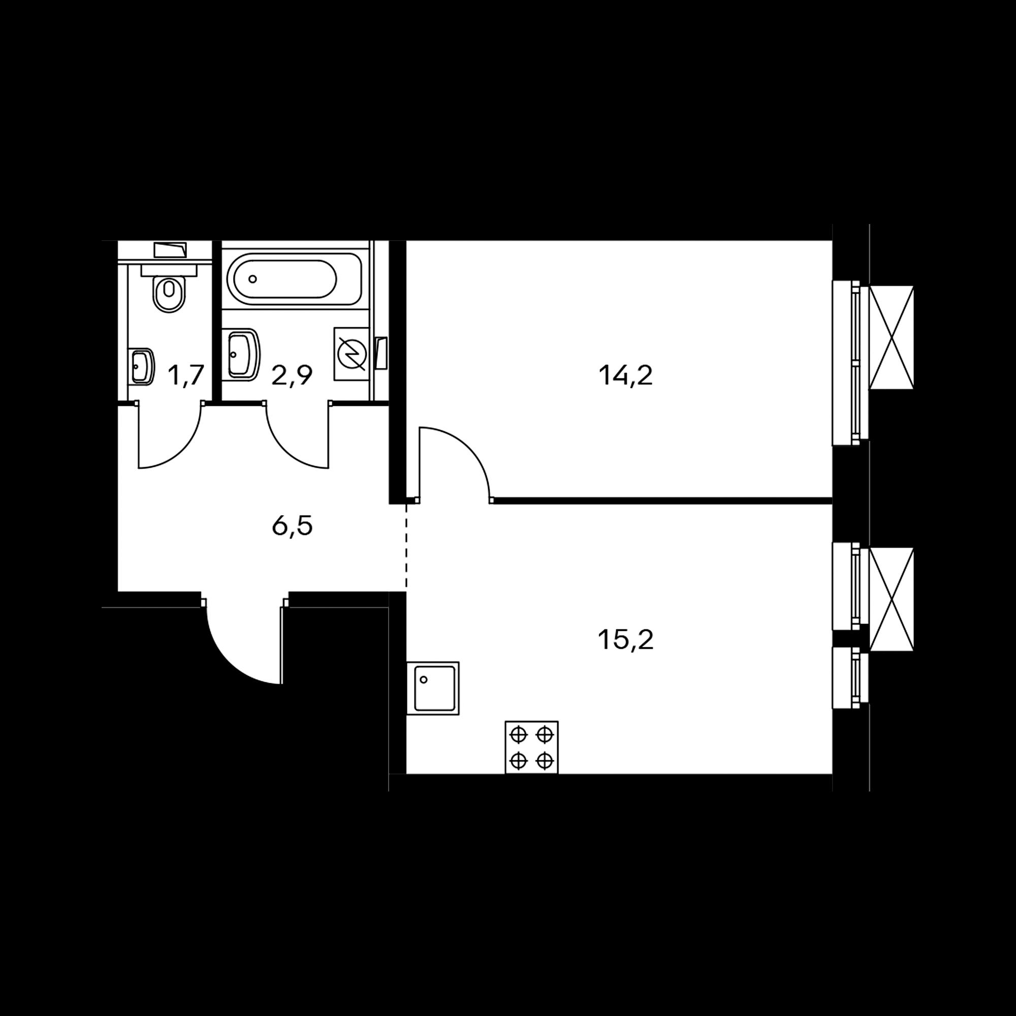 1-комнатная 40.4 м²