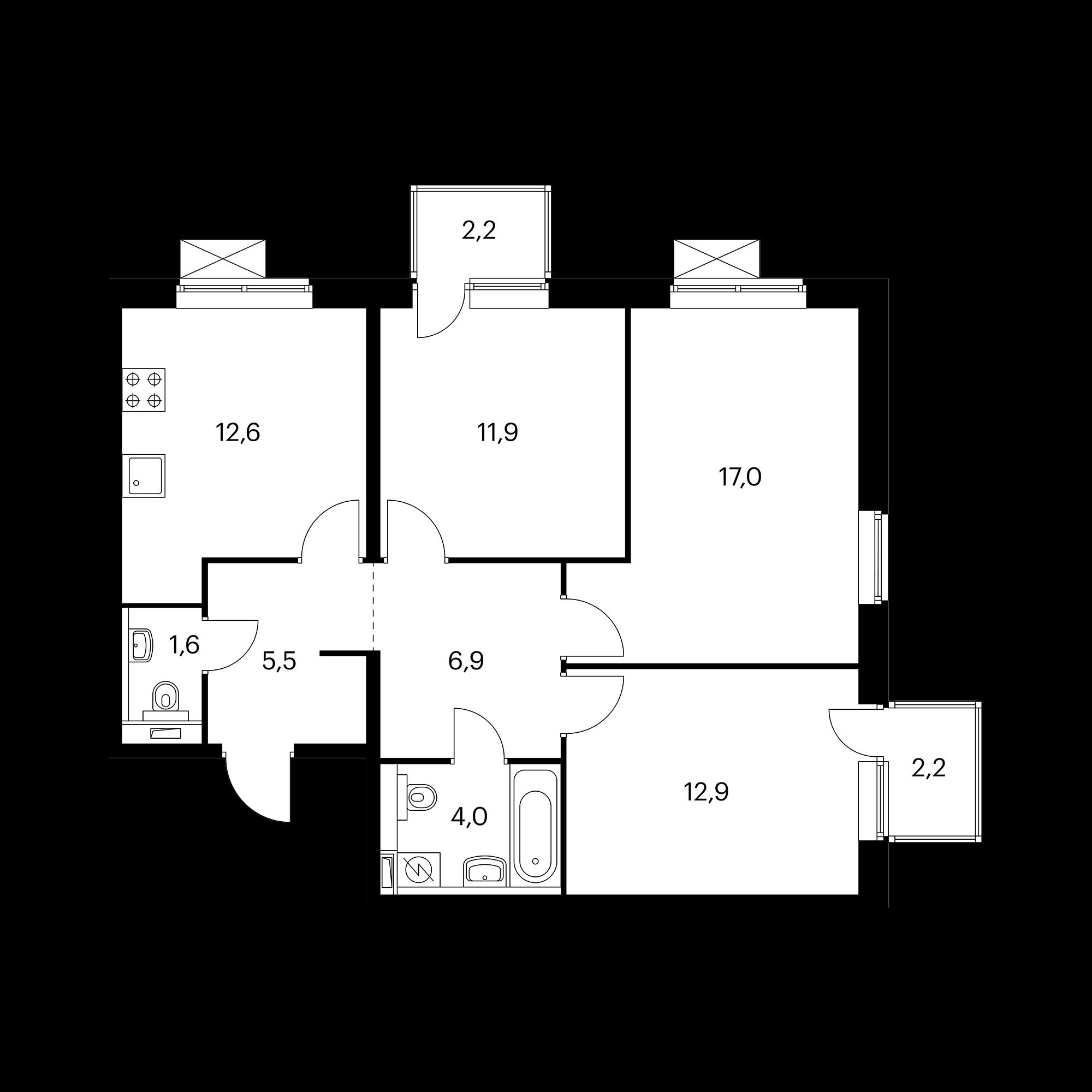 3-комнатная 73.8 м²