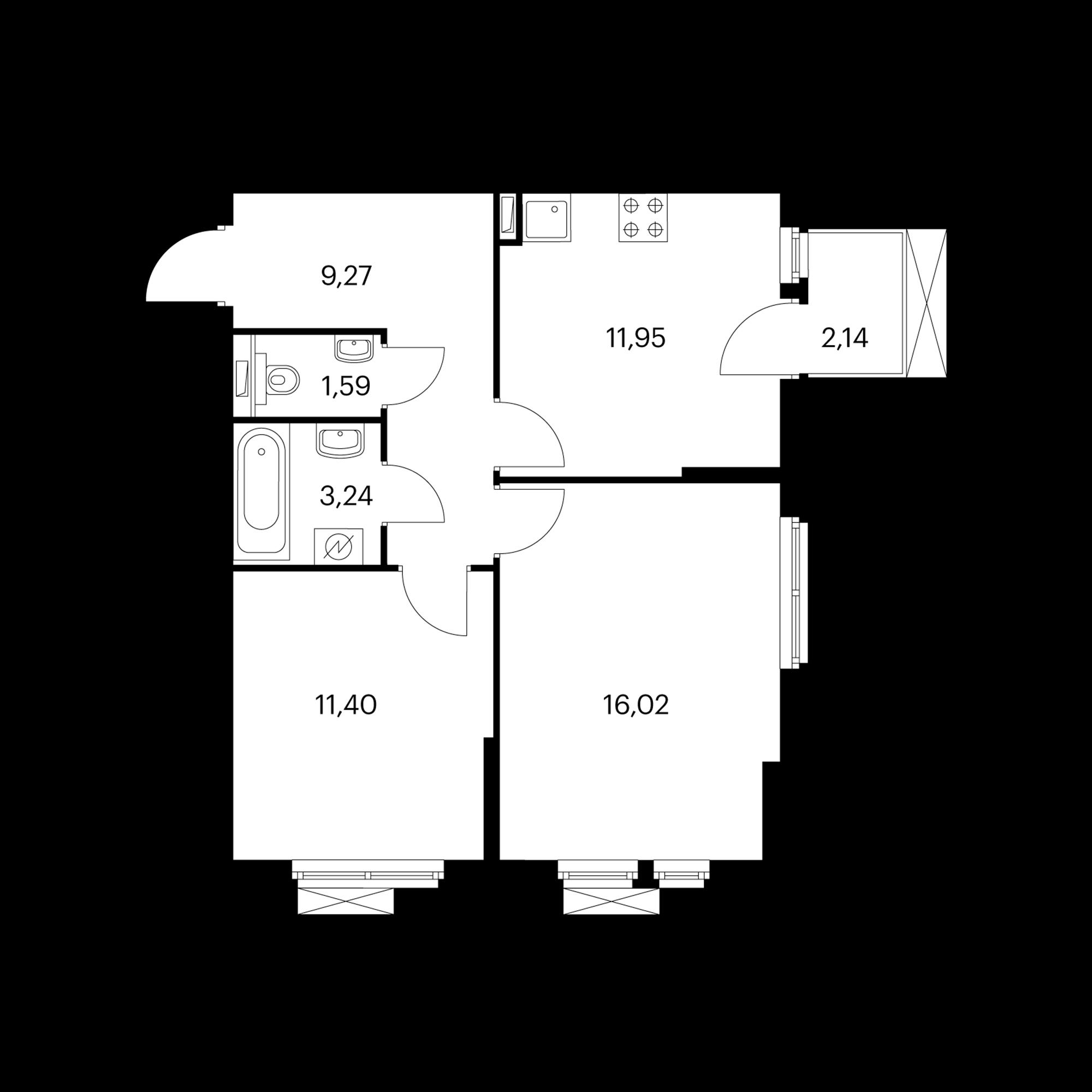 2-комнатная 54.11 м²