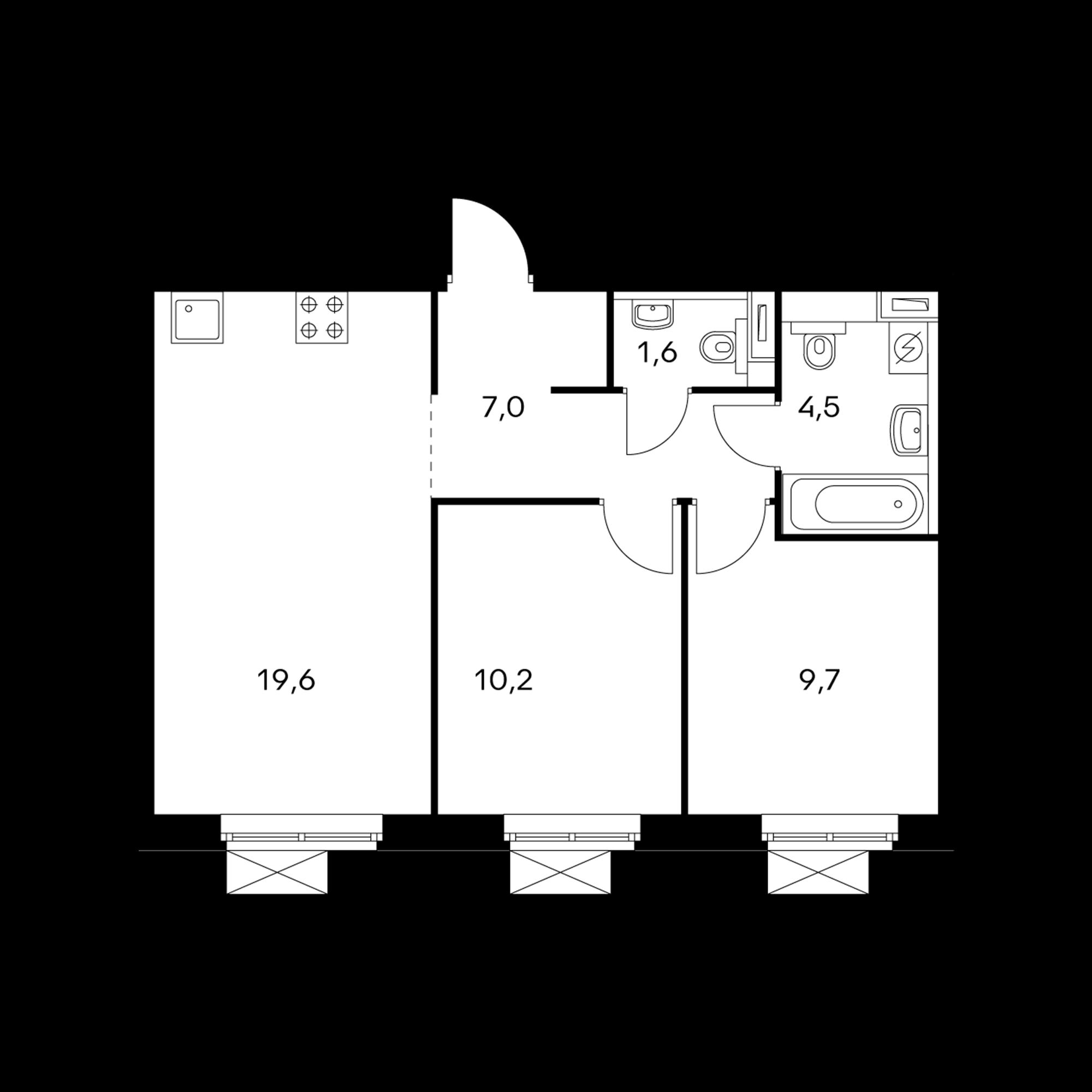 2-комнатная 52.6  м²