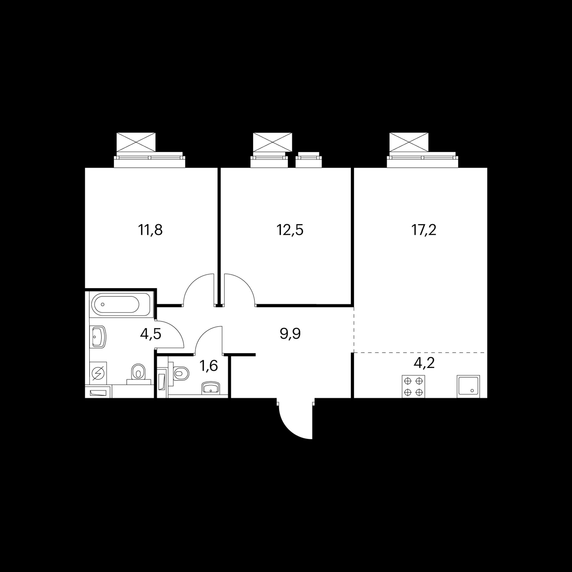 3-комнатная 61.7 м²
