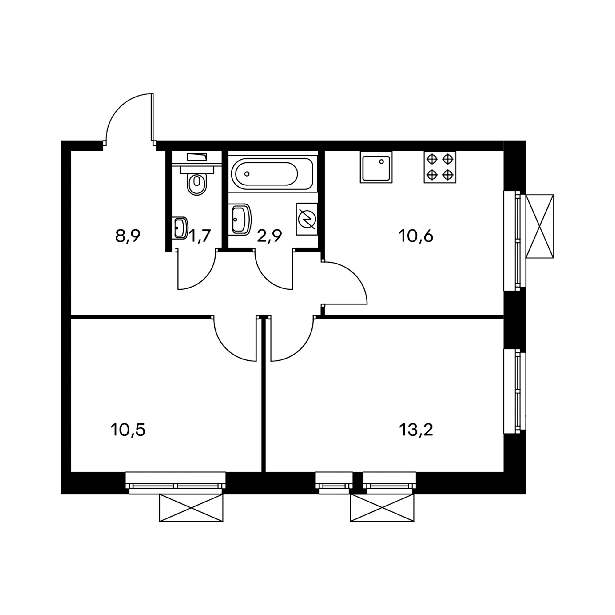 2-комнатная 47.8  м²