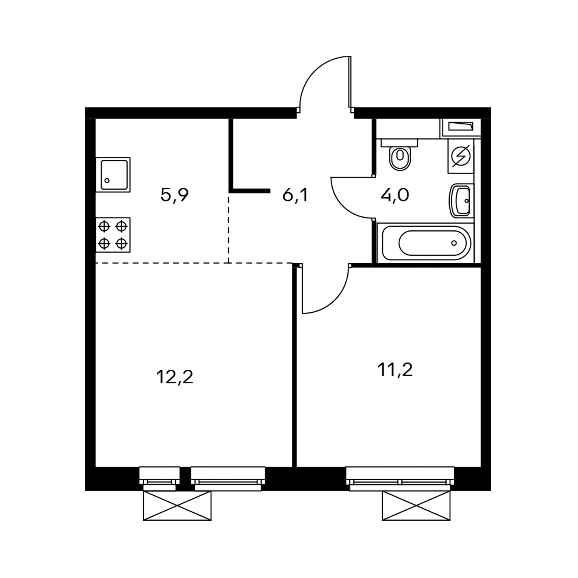 2-комнатная 39.4 м²