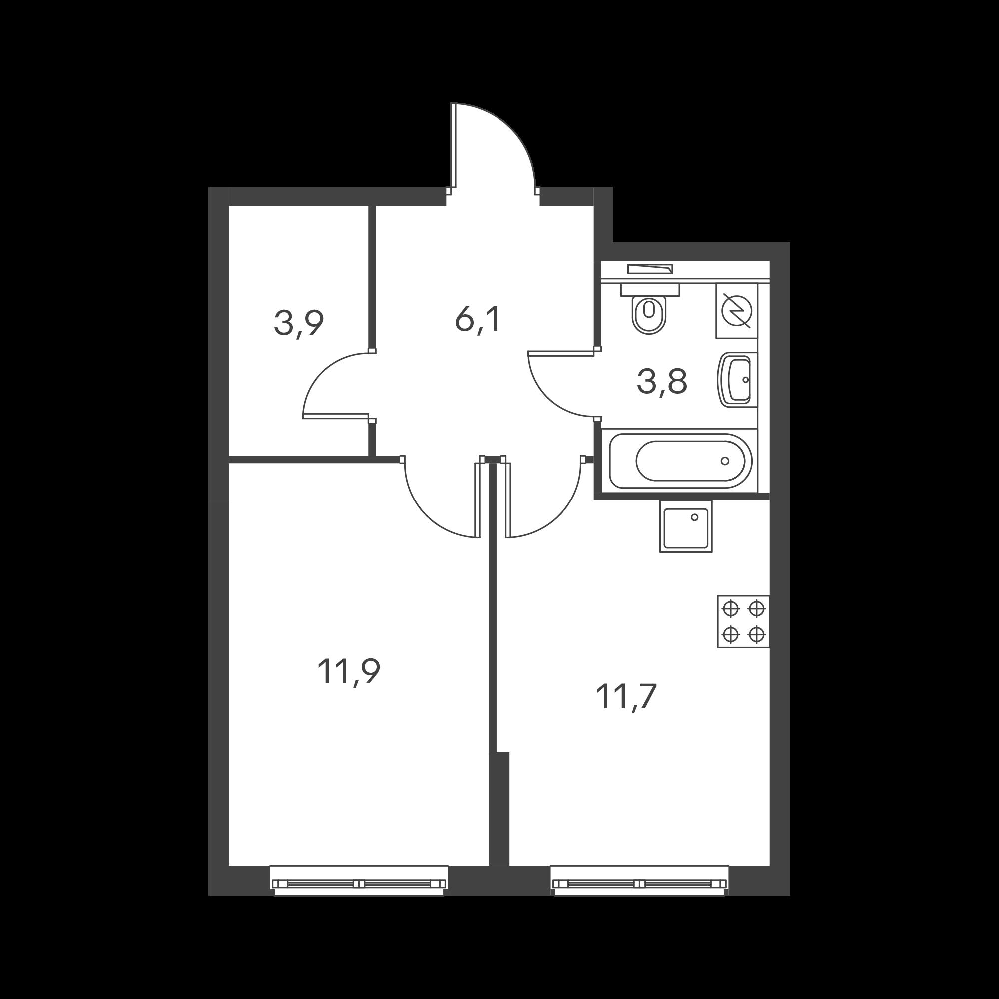 1-комнатная 37.4  м²