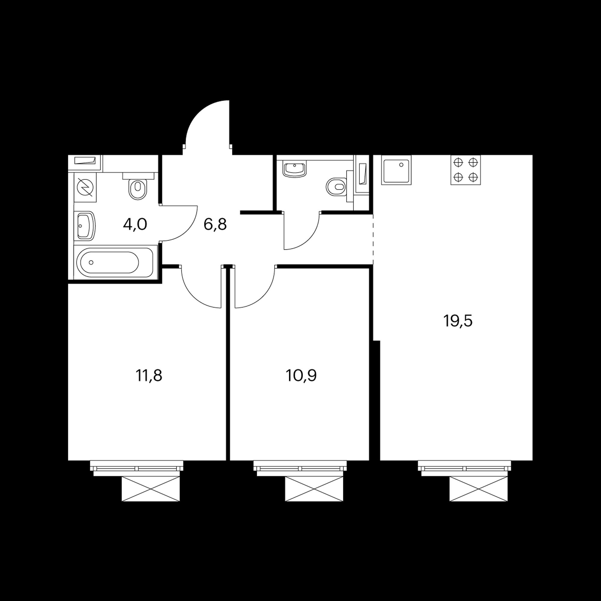 2-комнатная 54.7 м²