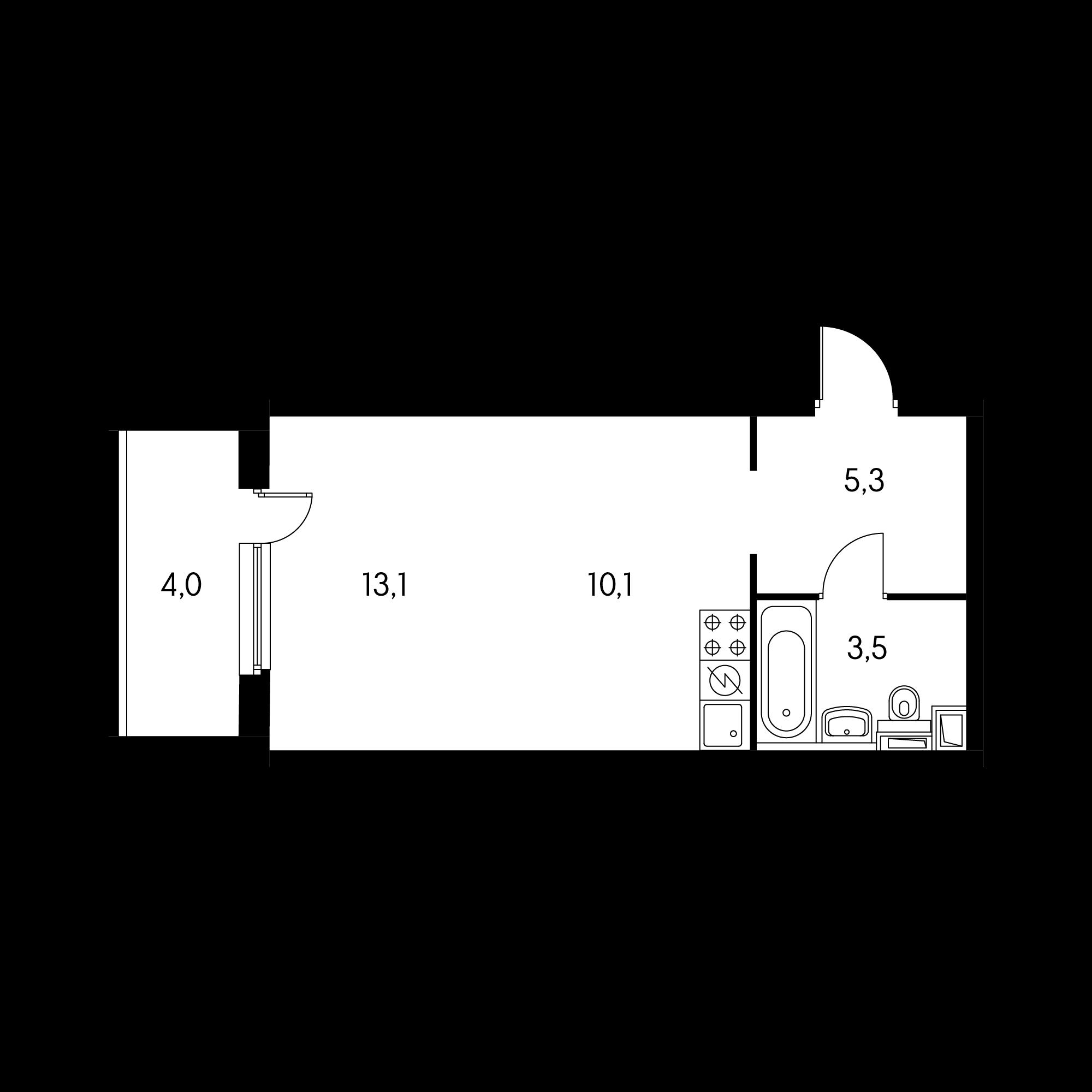 Студия 34.3  м²