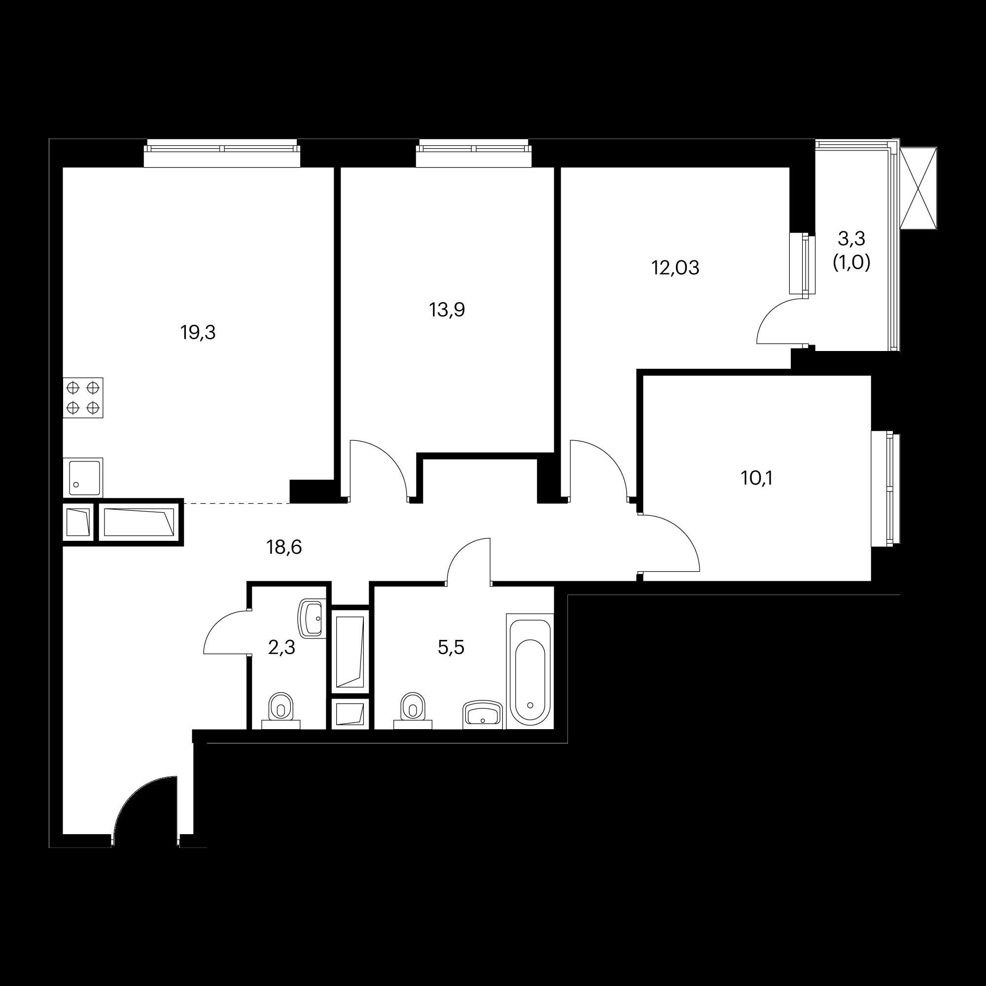 3-комнатная 81.7 м²