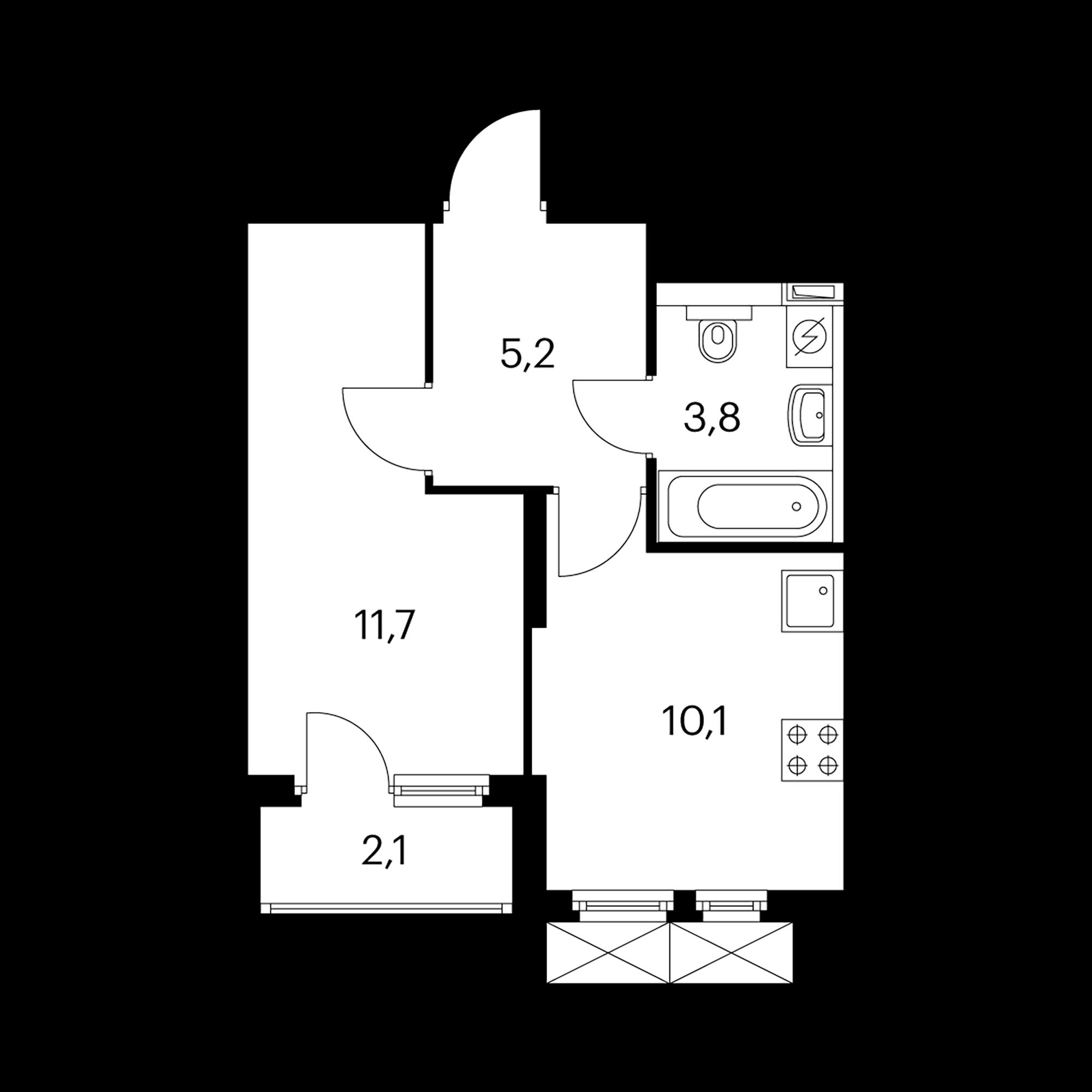 1-комнатная 32  м²