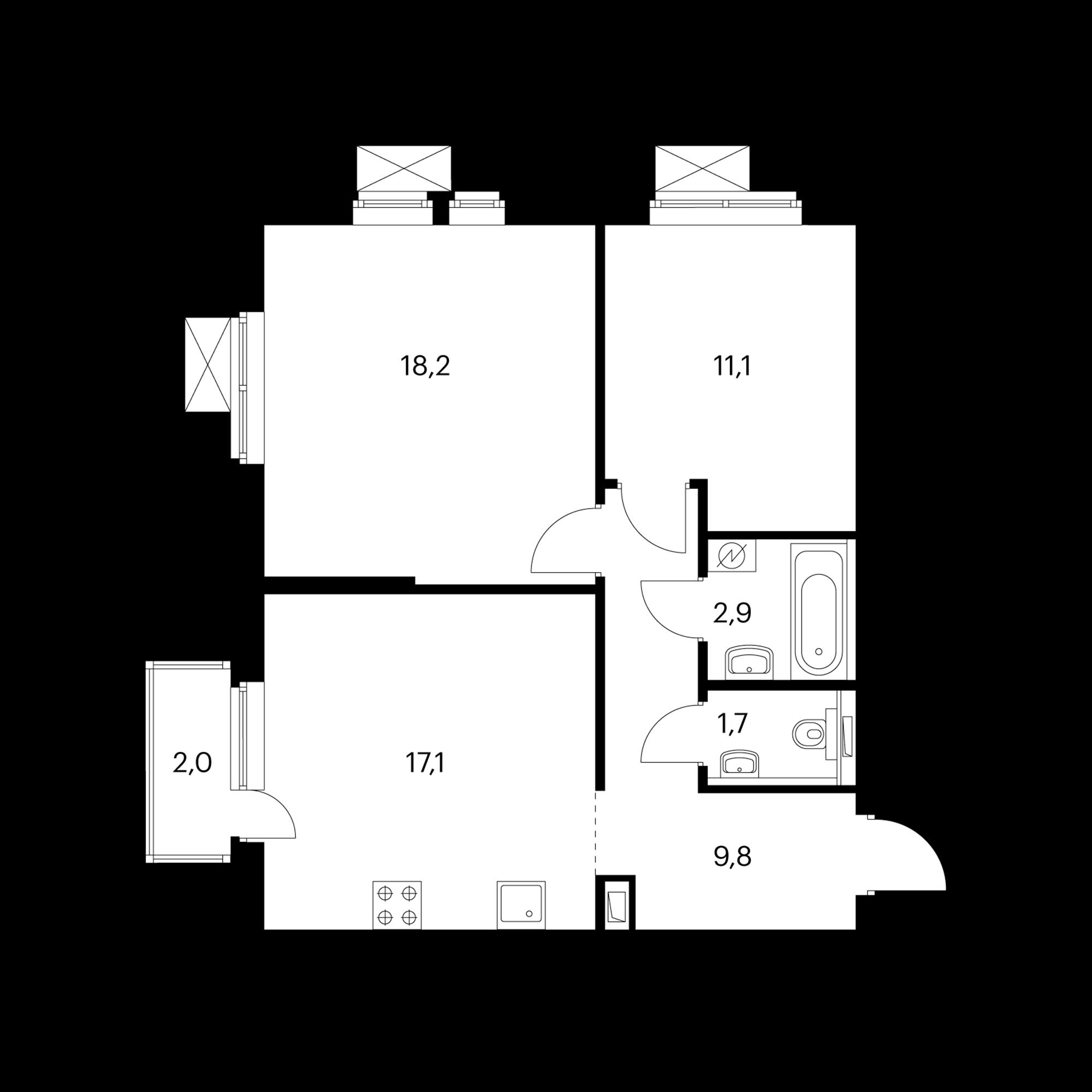 2-комнатная 61.4 м²