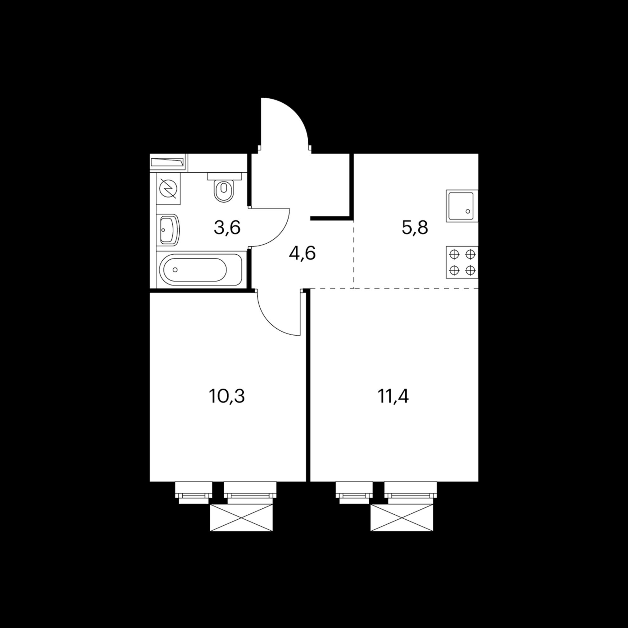 2-комнатная 36.2  м²