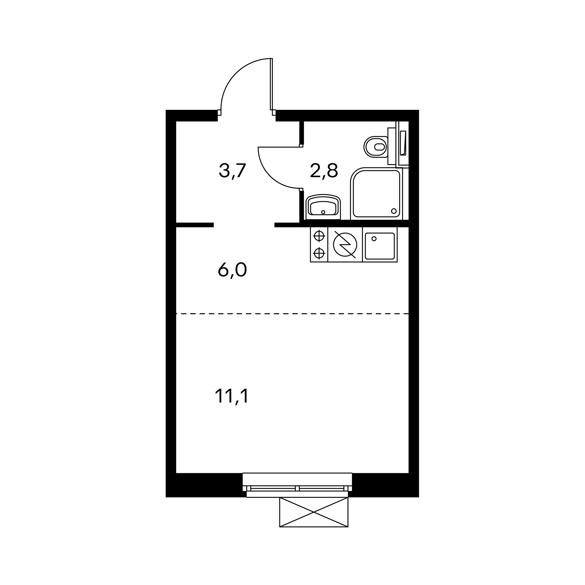 Студия 23.6  м²