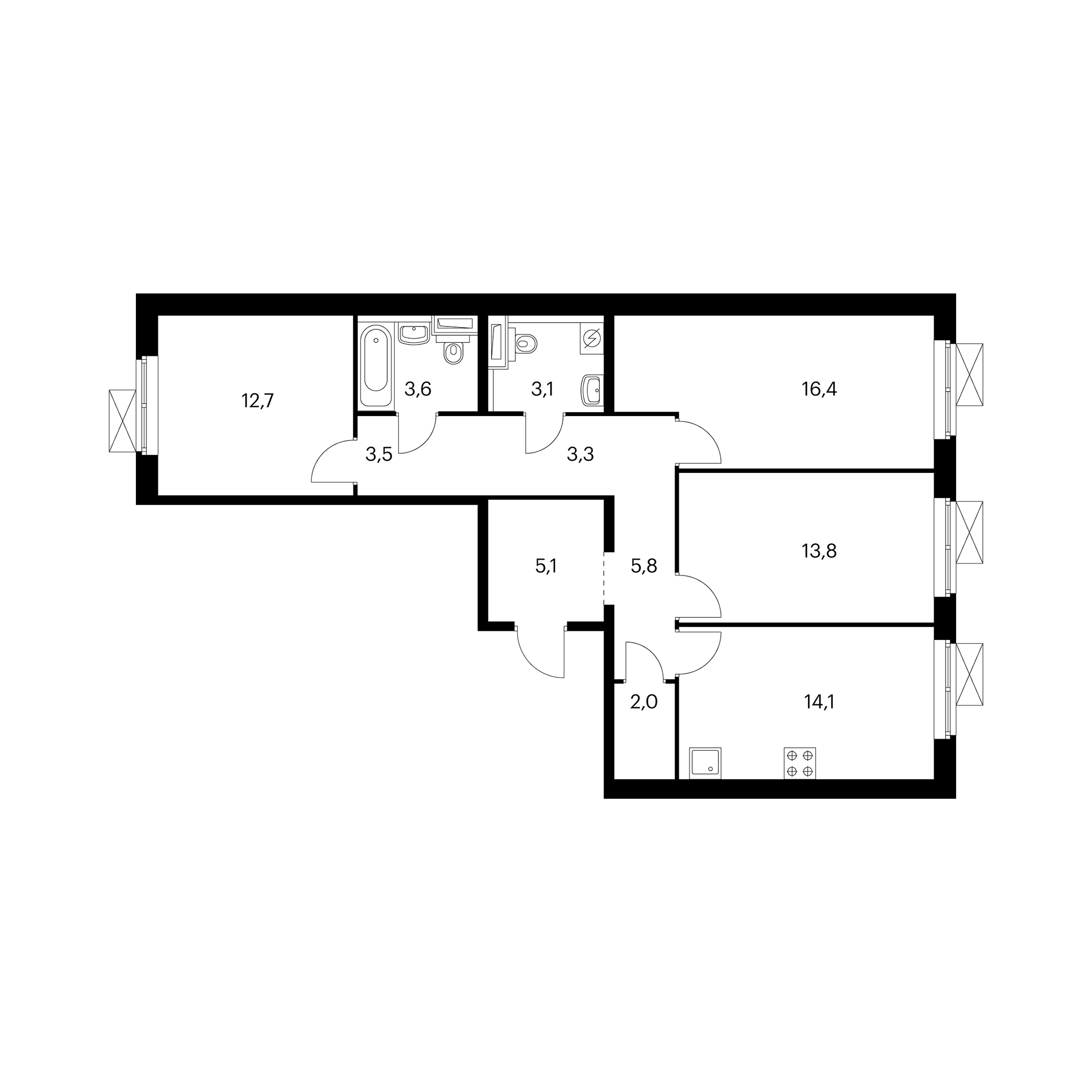 3-комнатная 83.3 м²