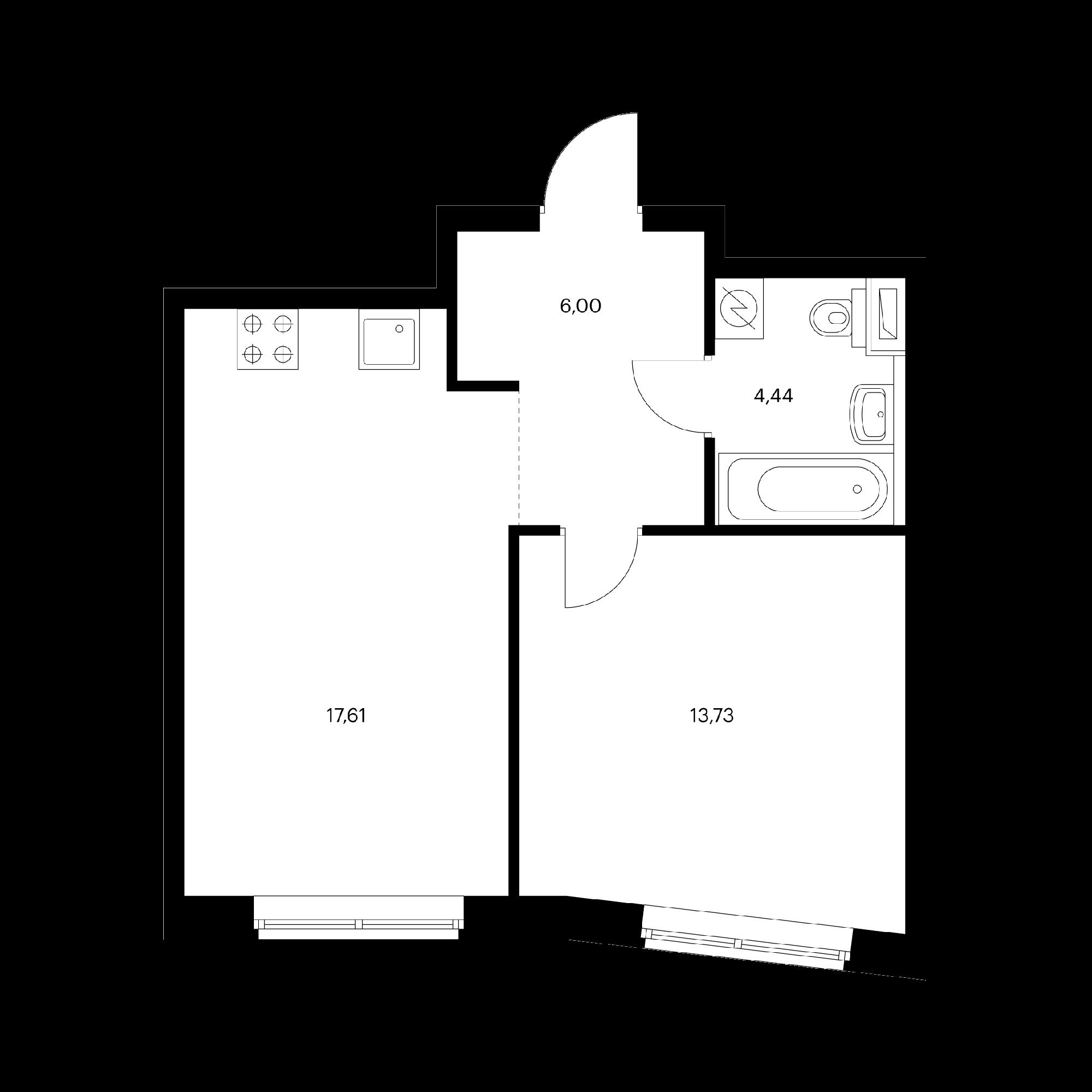 1-комнатная 41.78  м²