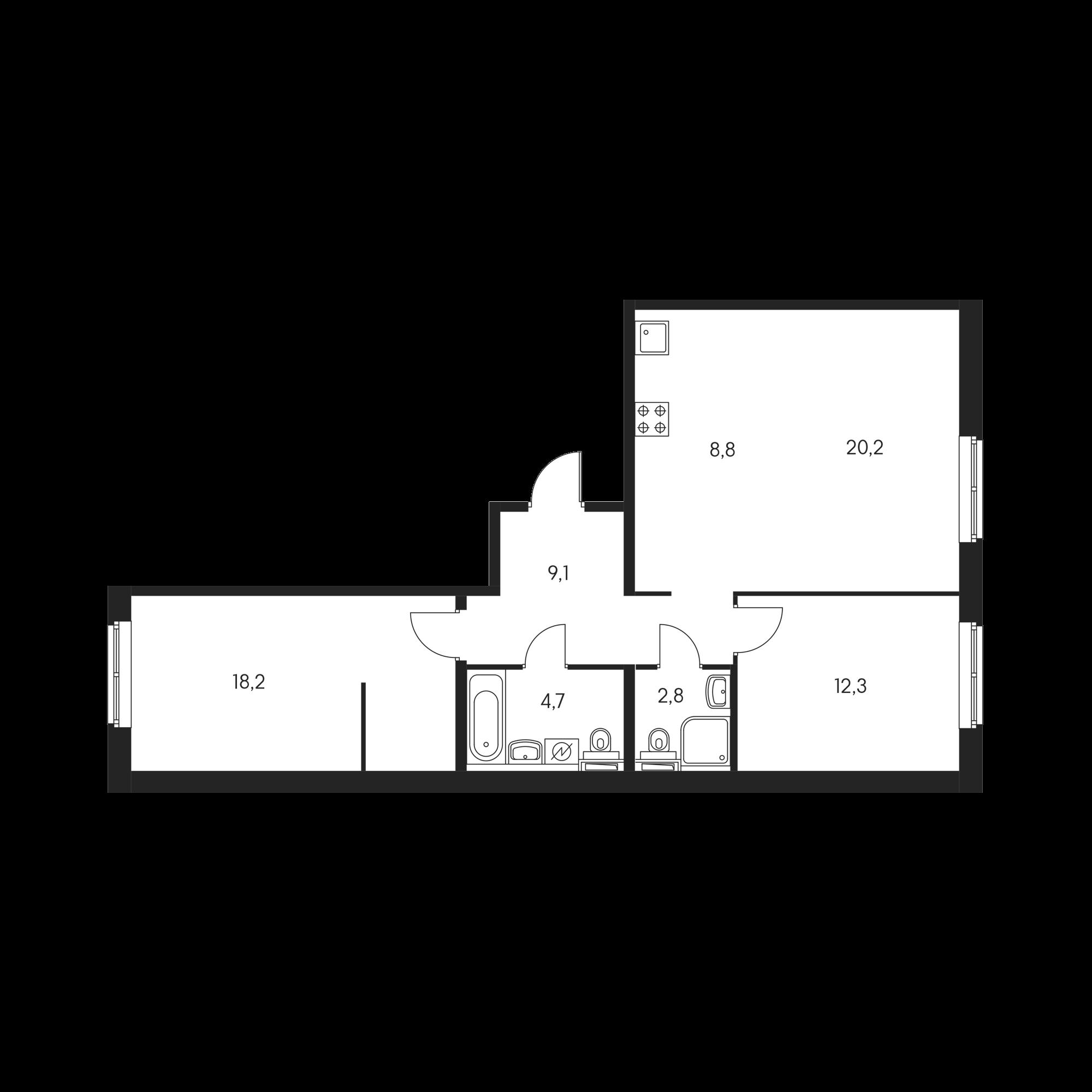3-комнатная 75.9  м²