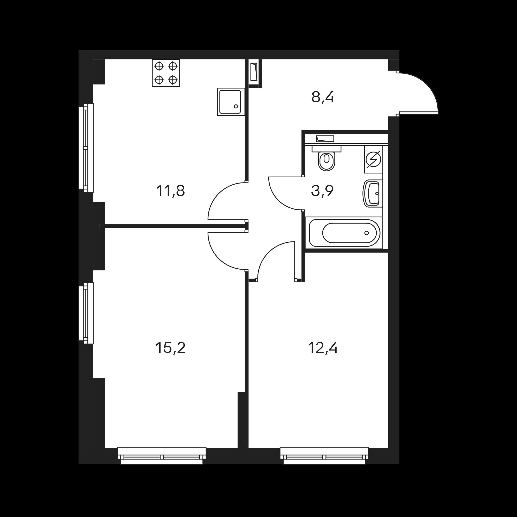 2-комнатная 51.7 м²