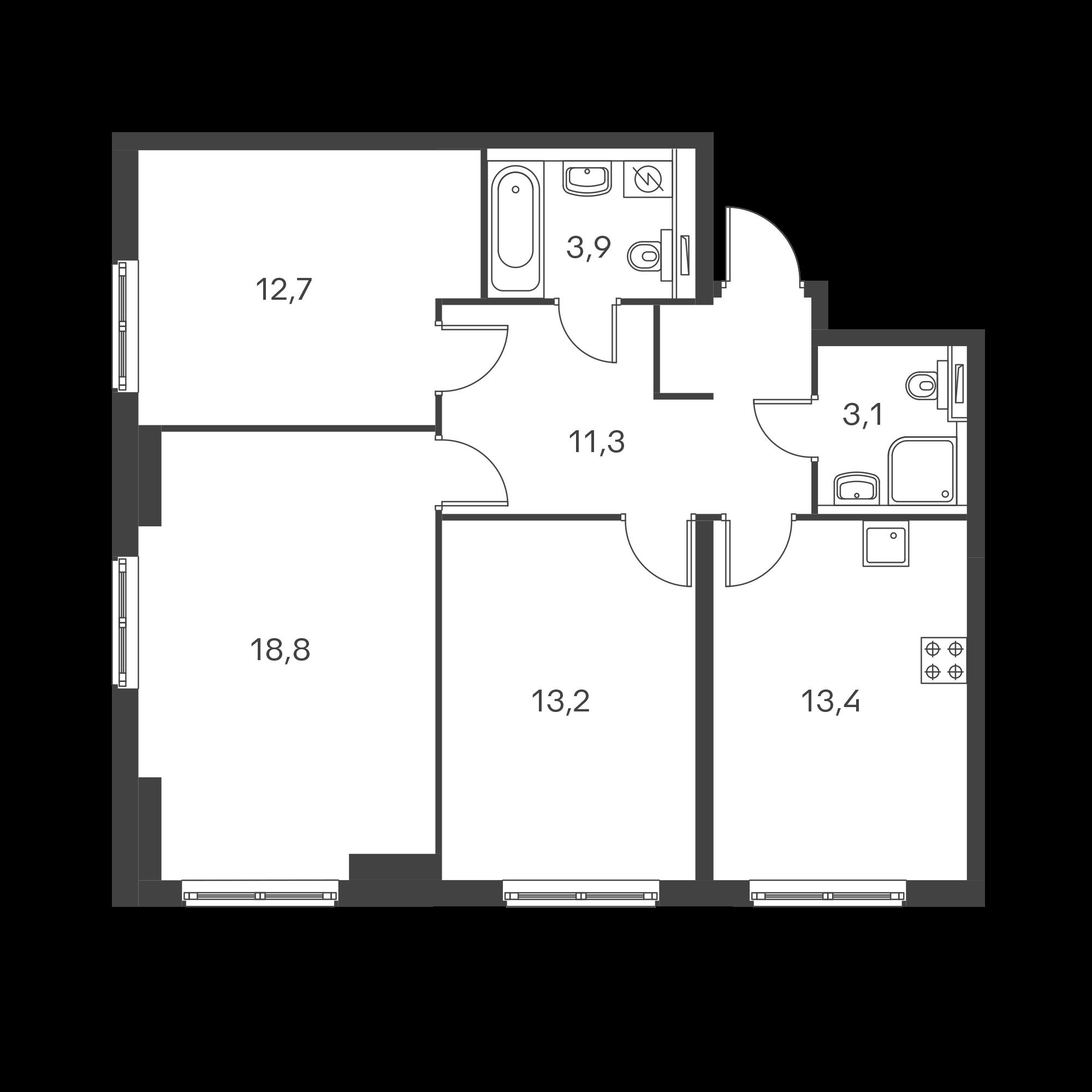 3-комнатная 76.4 м²