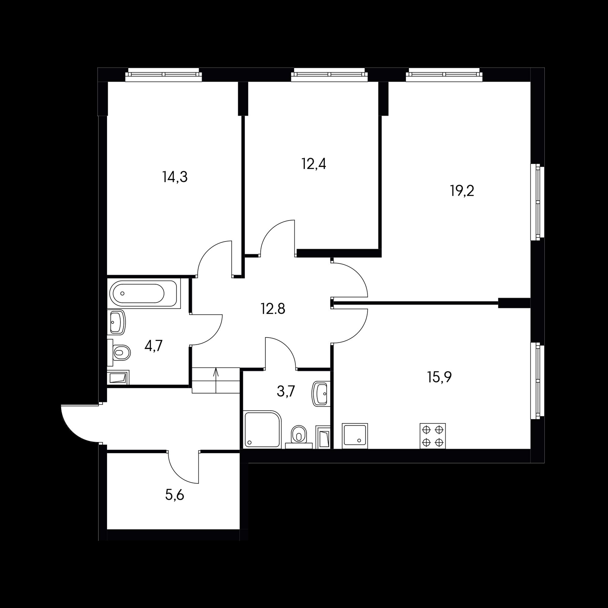 3-комнатная 87.2  м²