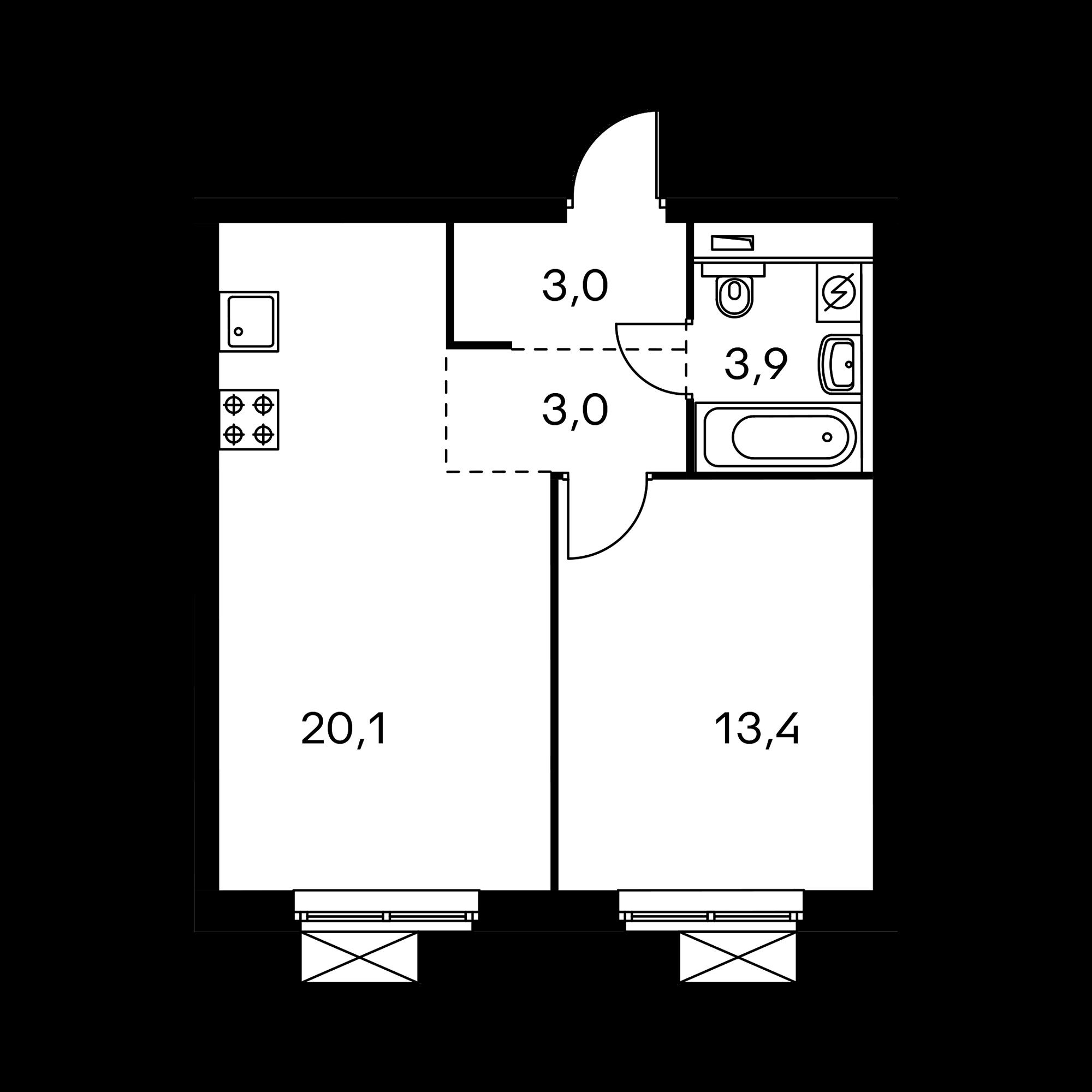 1-комнатная 43.2  м²