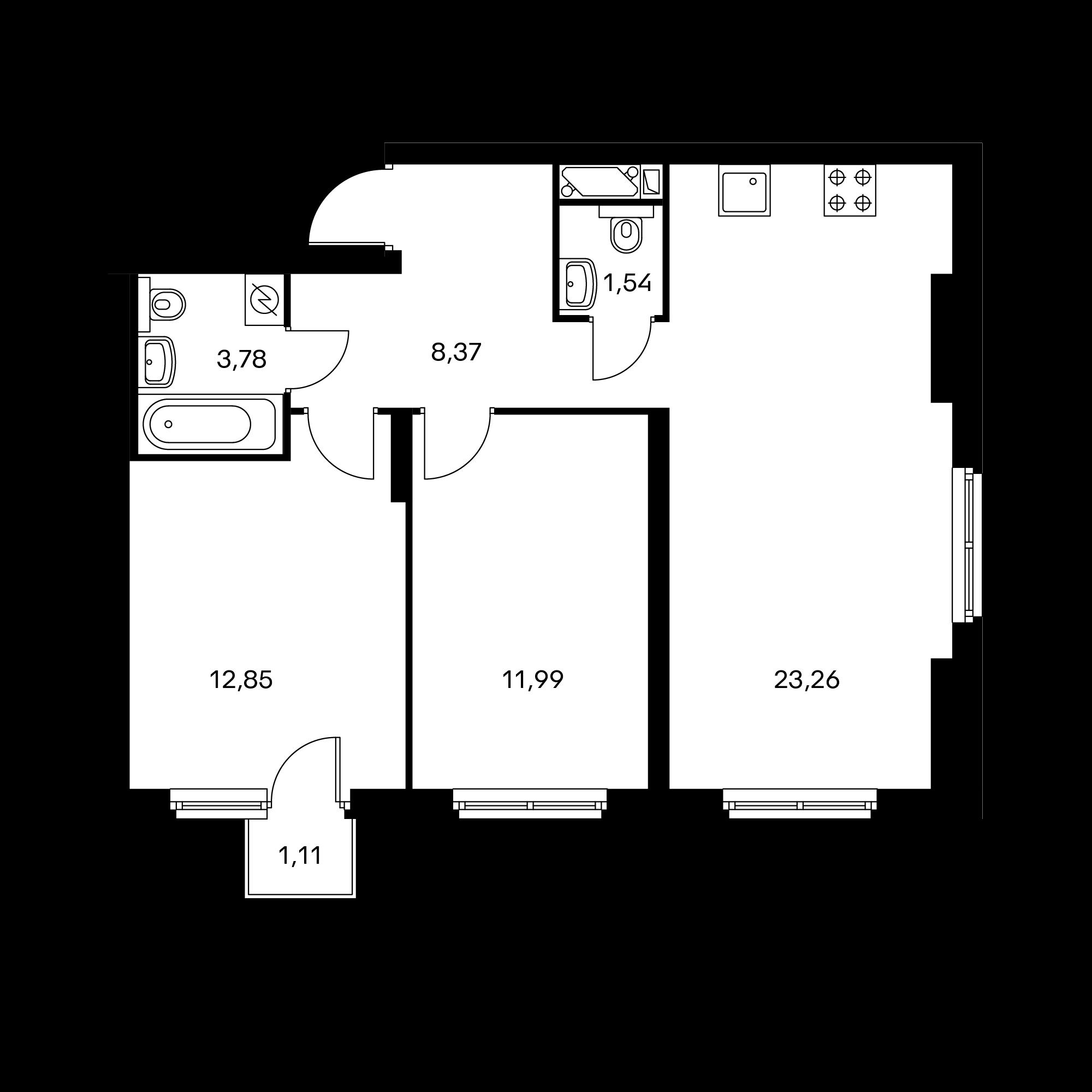 2-комнатная 62.12  м²