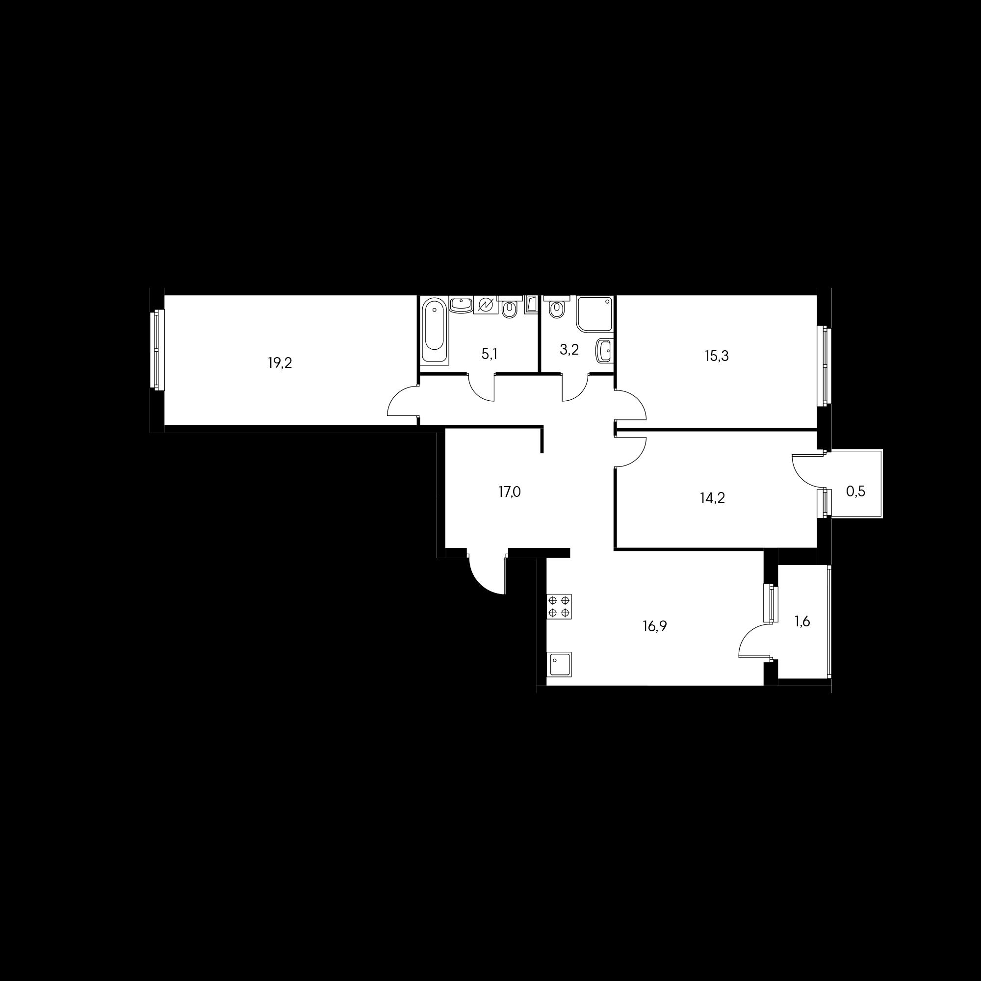 3-комнатная 93 м²