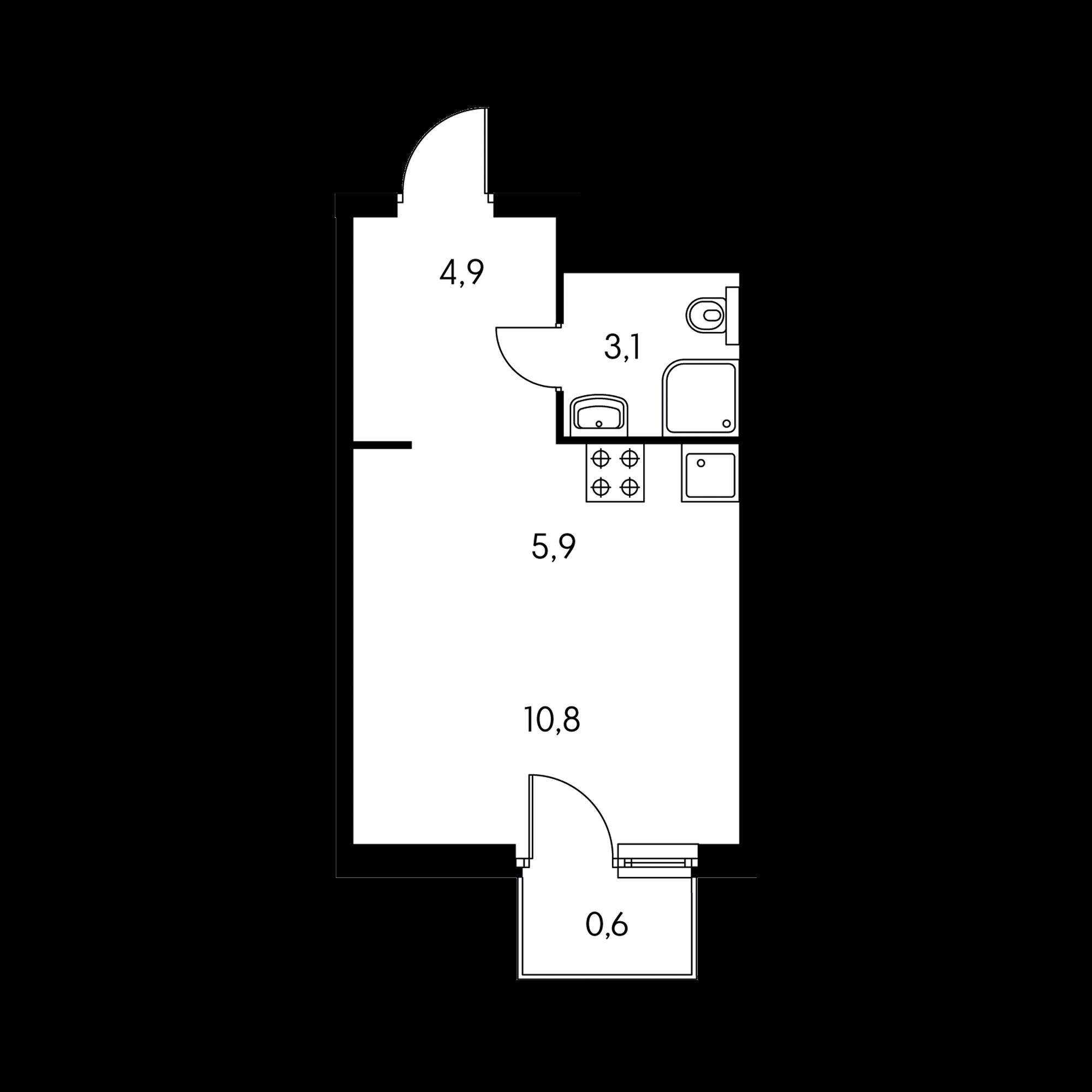 Студия 24.5 м²