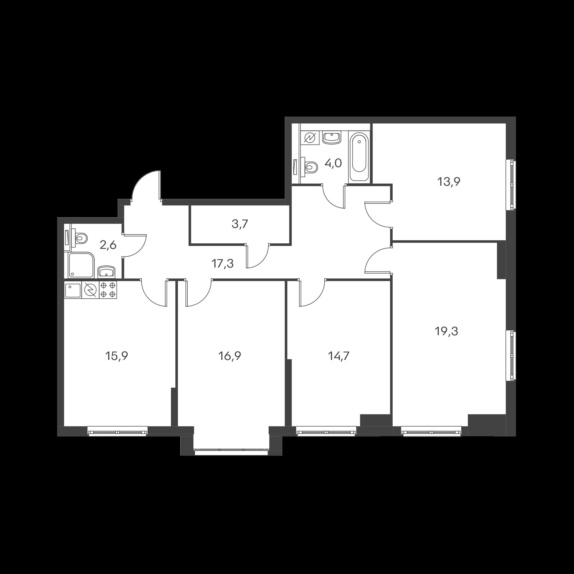 4-комнатная 108.3 м²