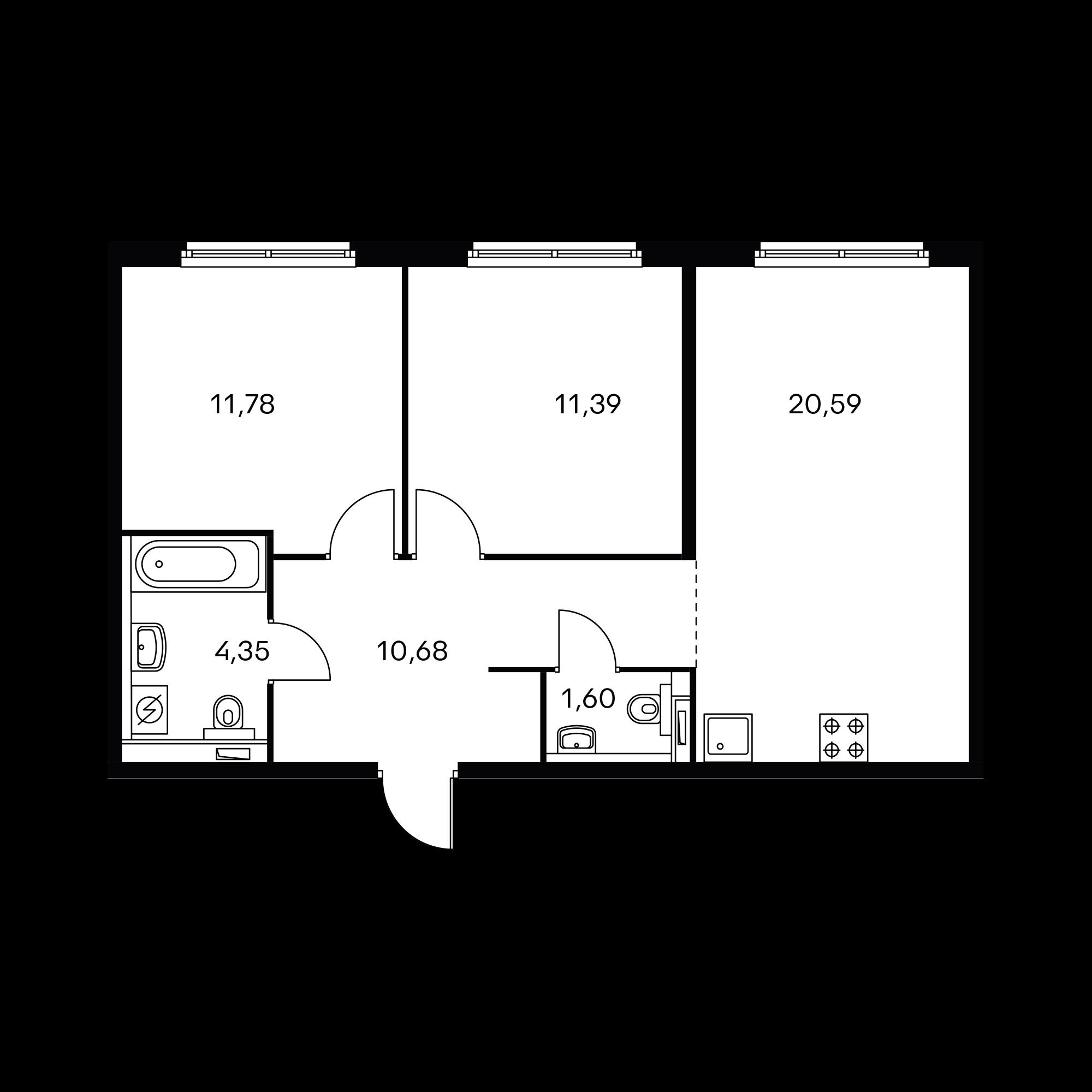 2-комнатная 60.39  м²