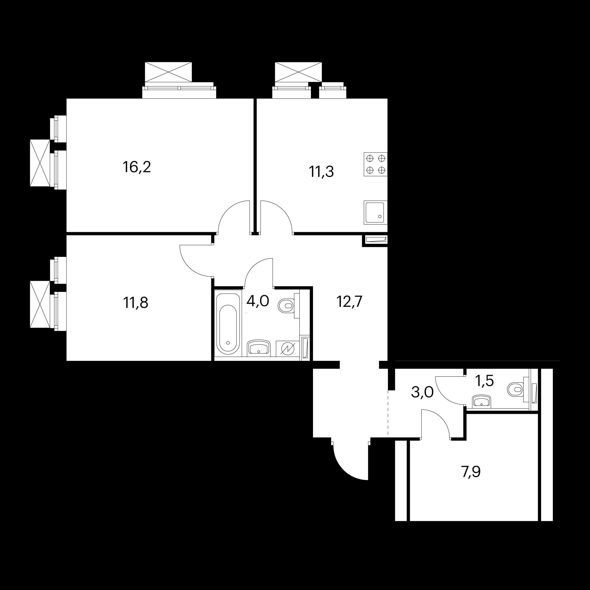 2-комнатная 68.4  м²