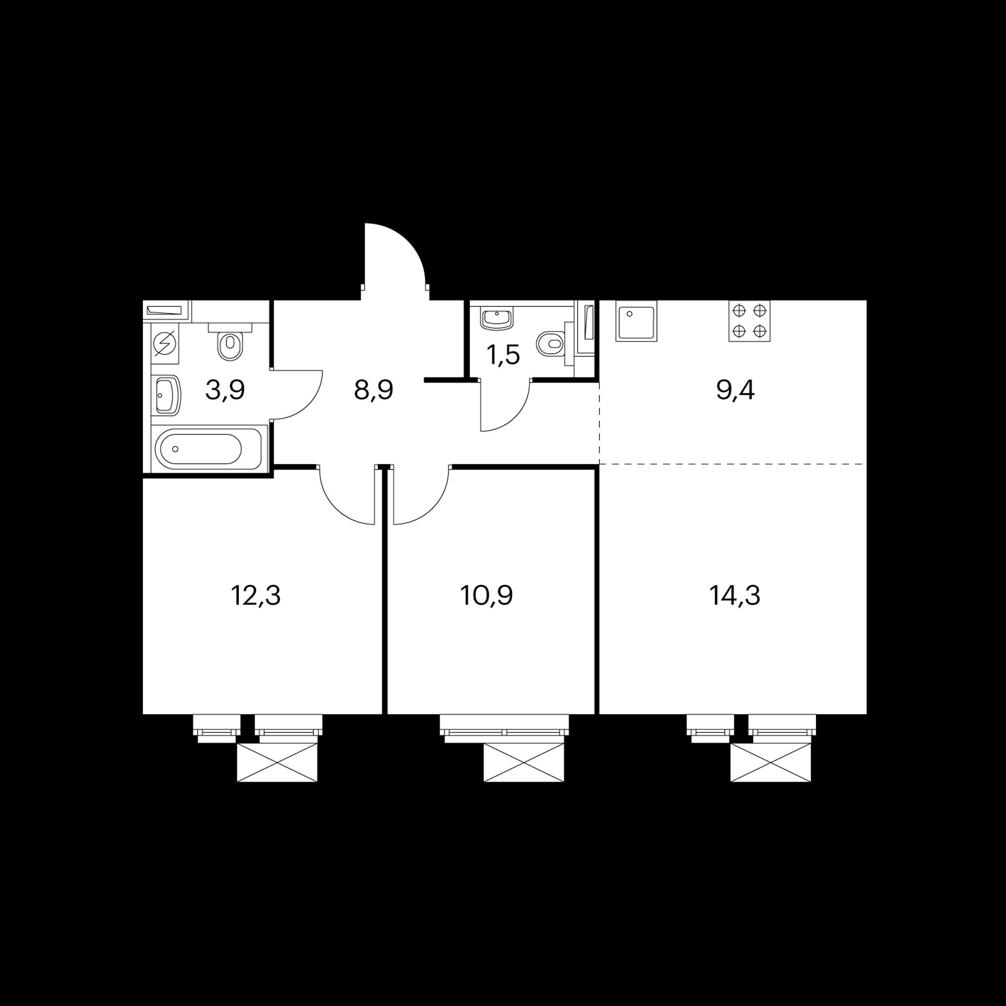 3-комнатная 61.2  м²