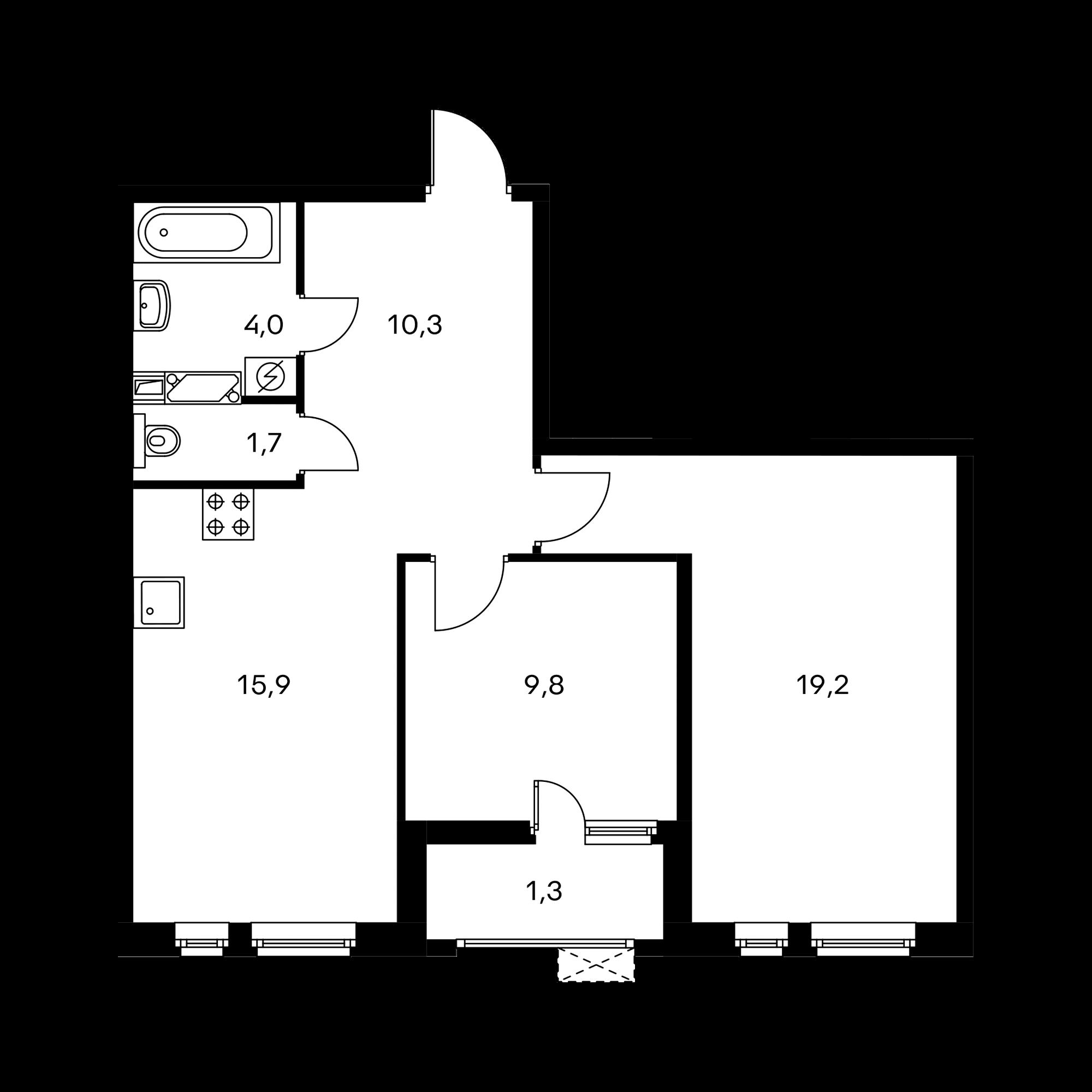2-комнатная 62.2  м²