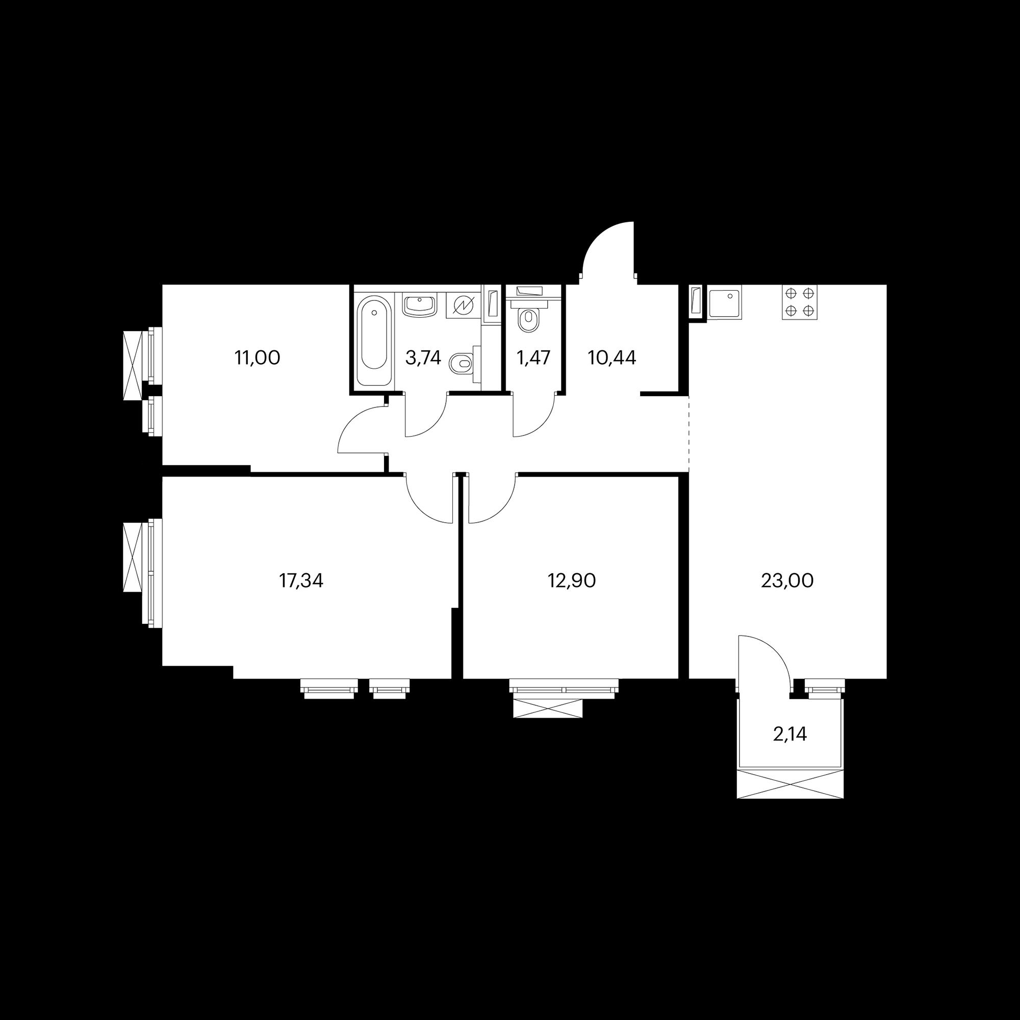 3-комнатная 80.55  м²