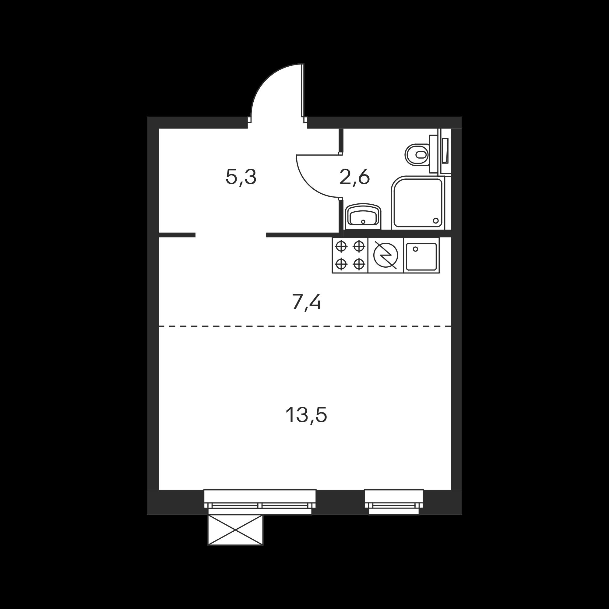 Студия 28.8  м²