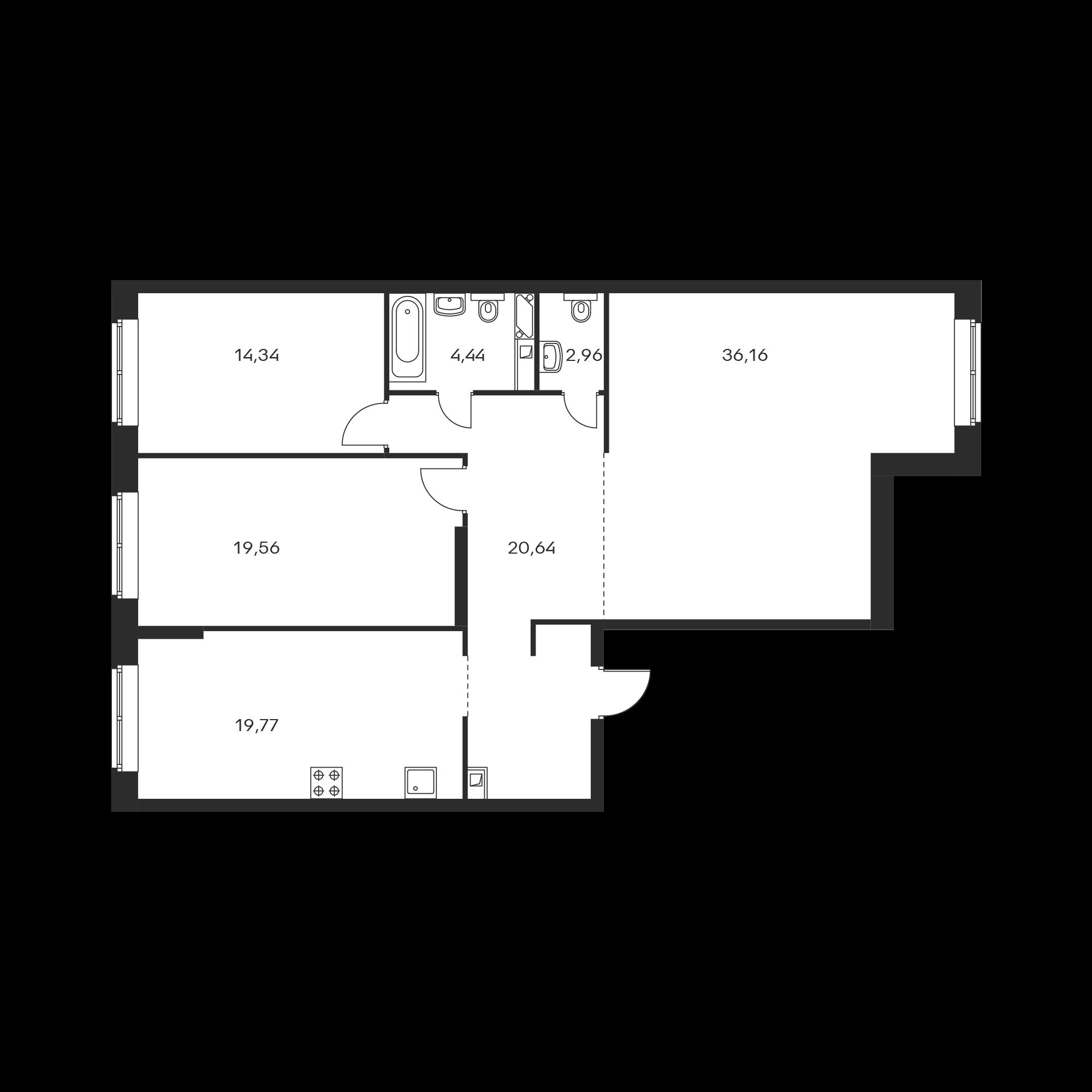 3-комнатная 117.87  м²