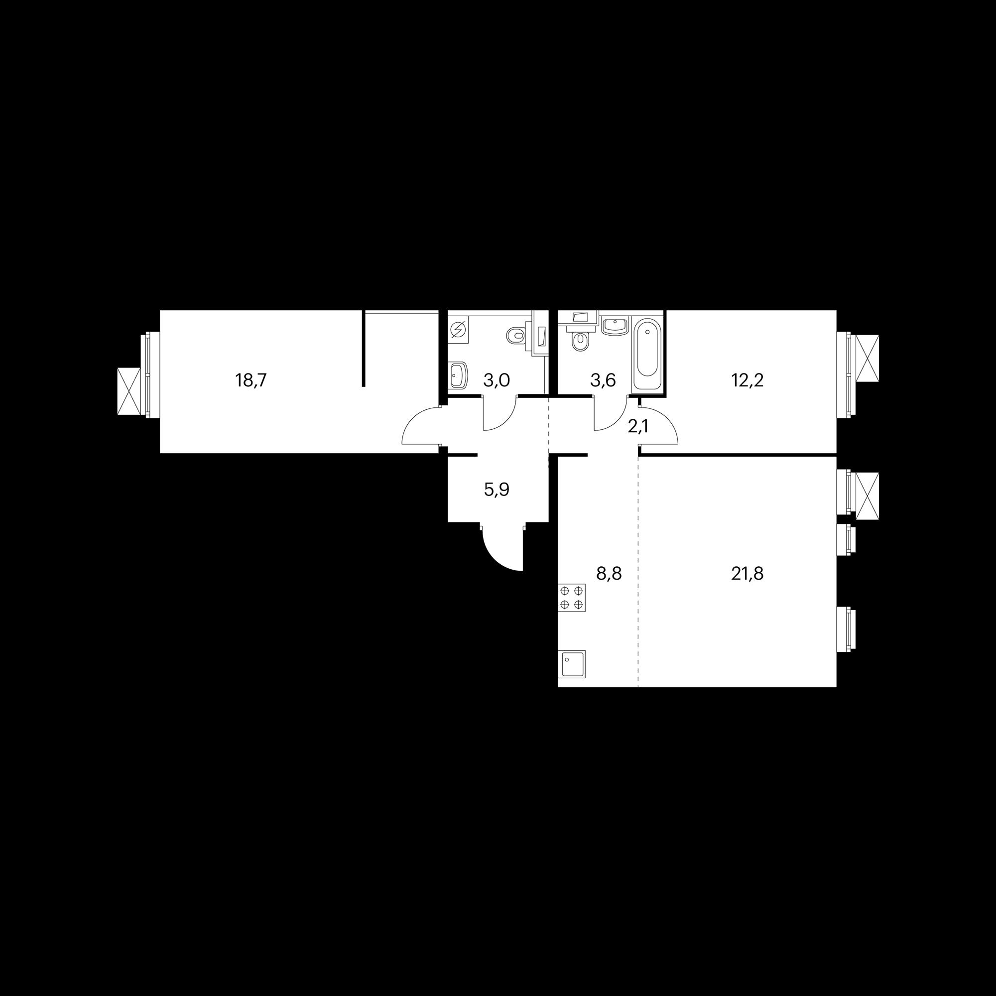 3-комнатная 76.1  м²
