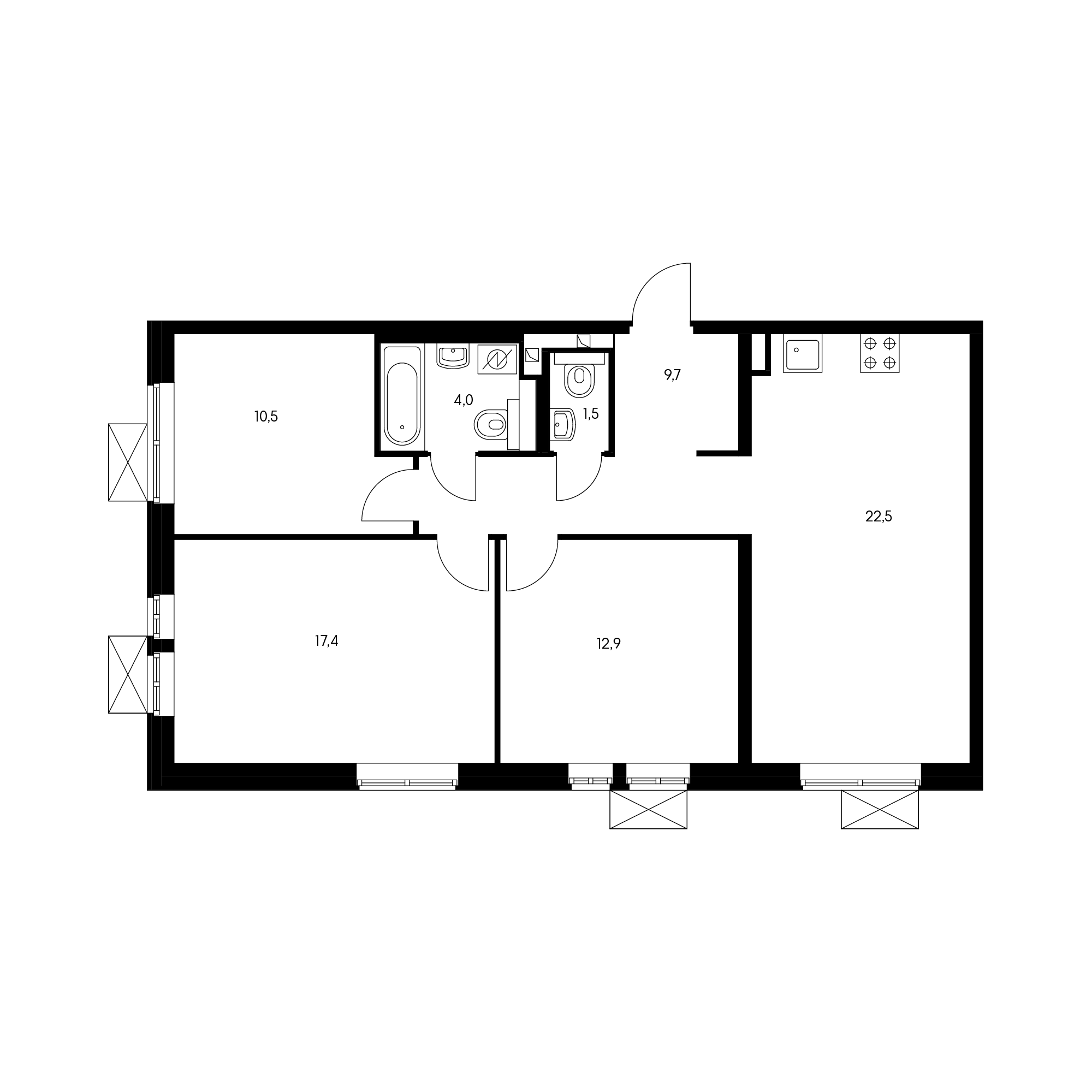 3-комнатная 78.2  м²