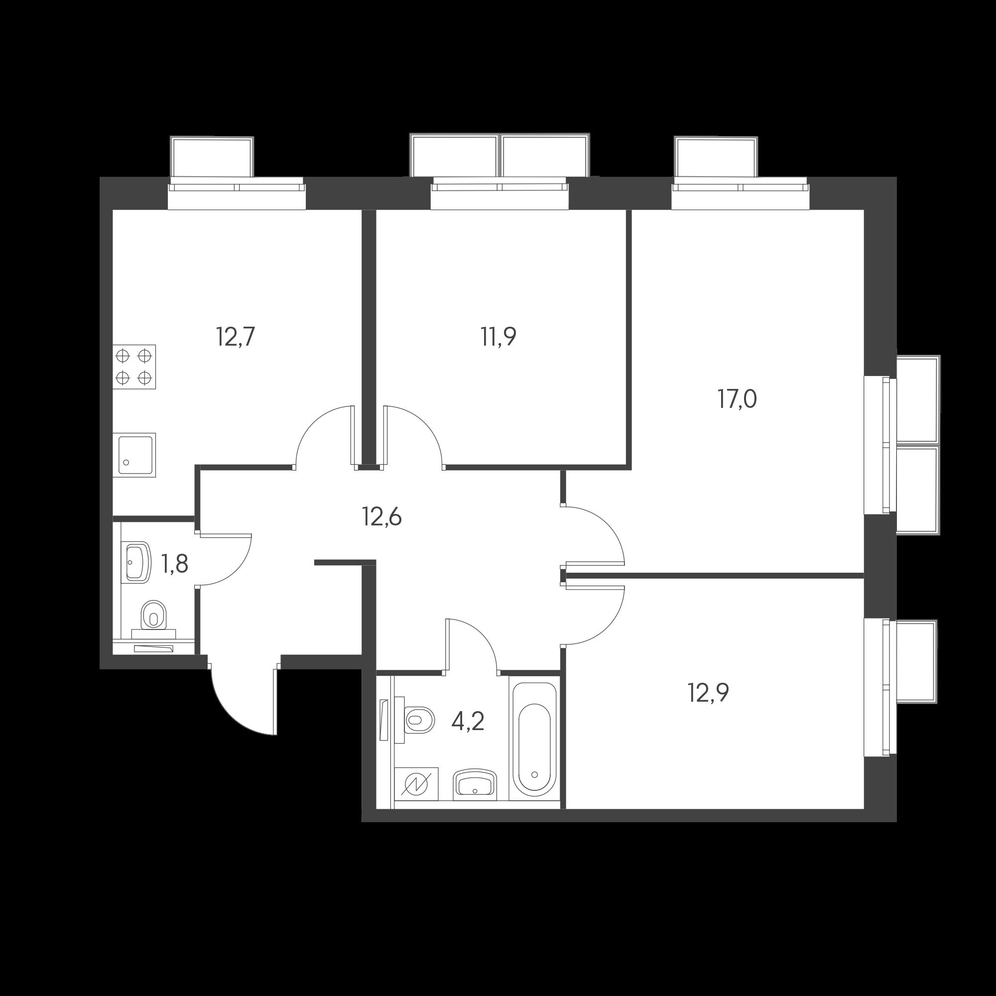 3-комнатная 72.3  м²