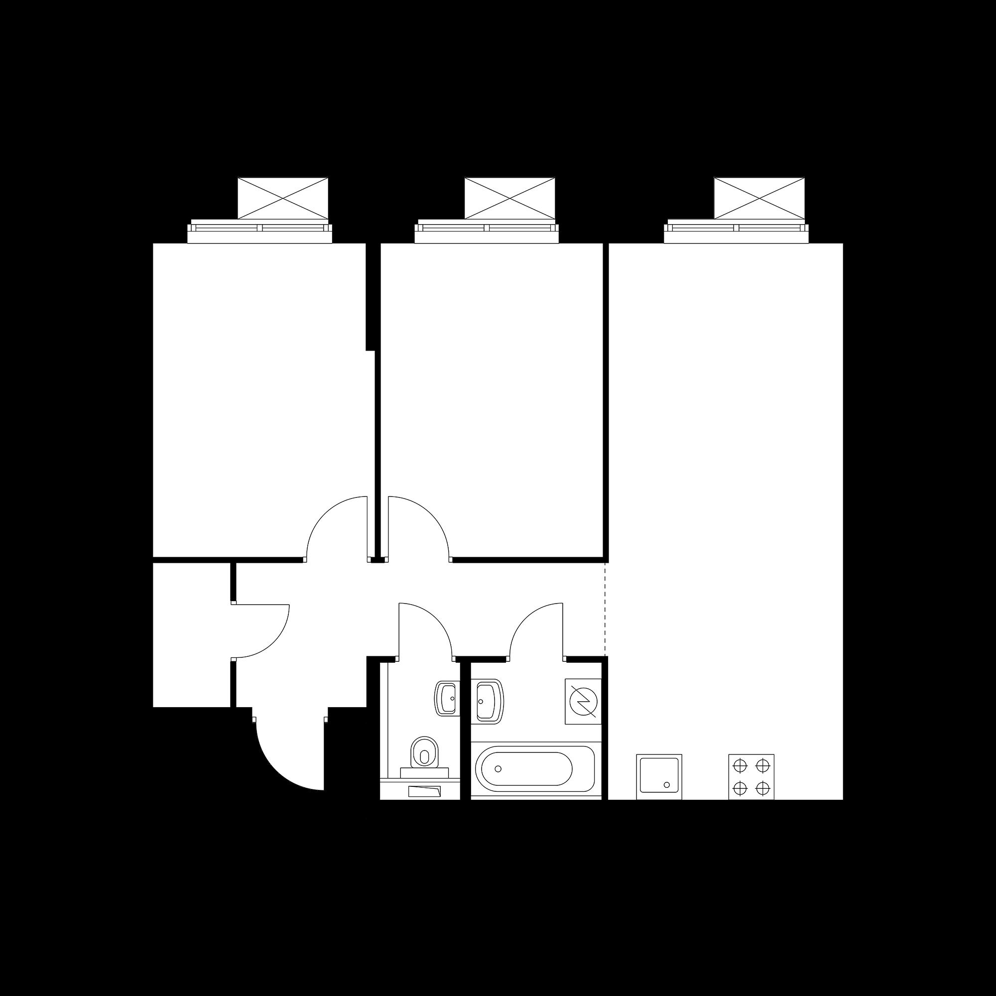 2-комнатная 60.63  м²