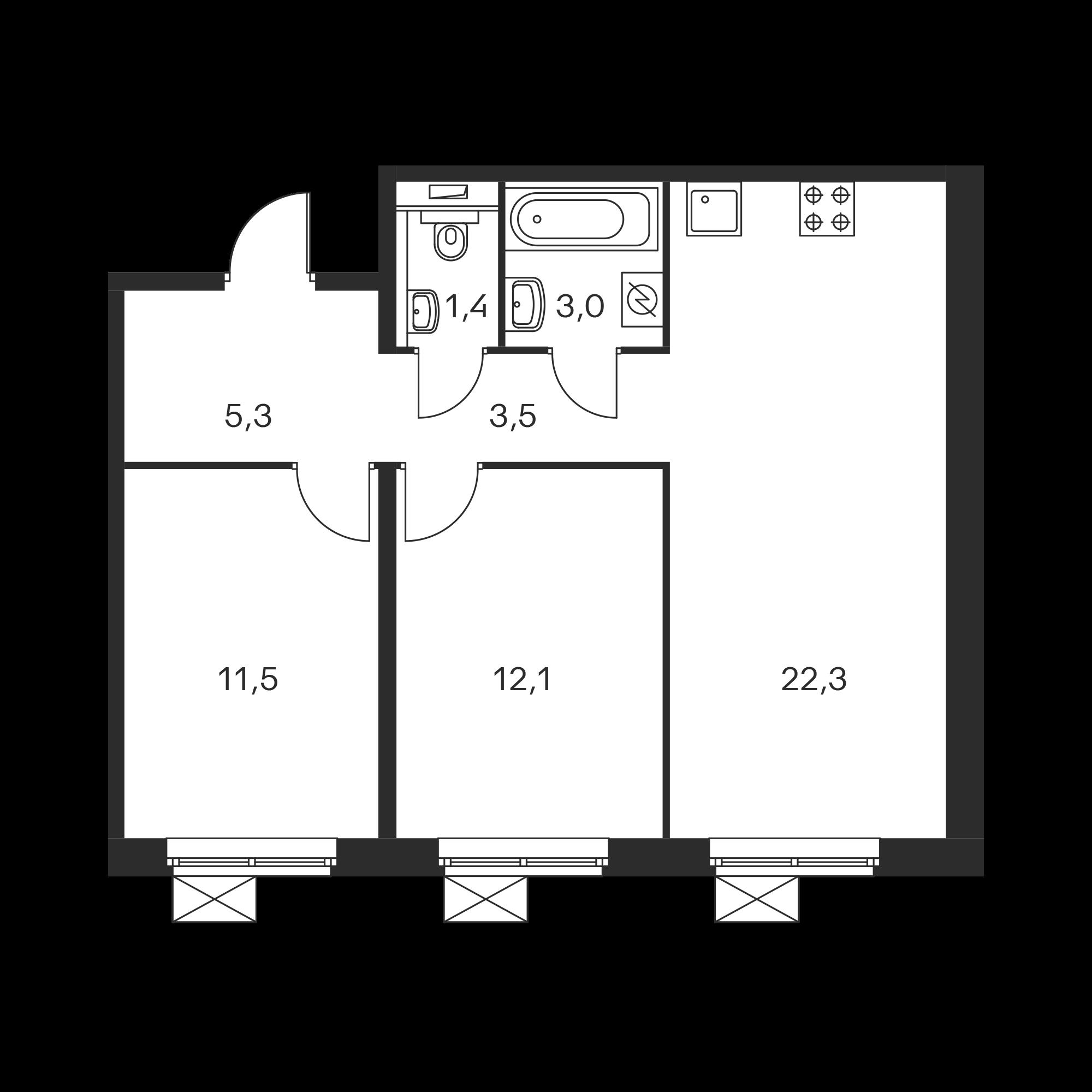 2-комнатная 59.1  м²