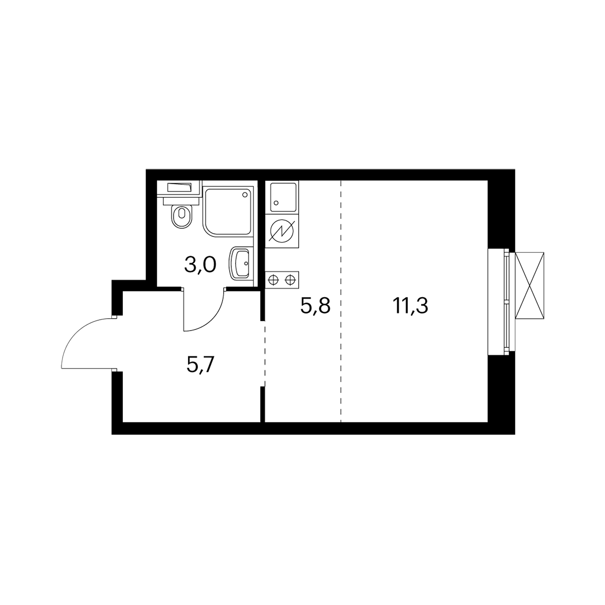 Студия 25.8  м²