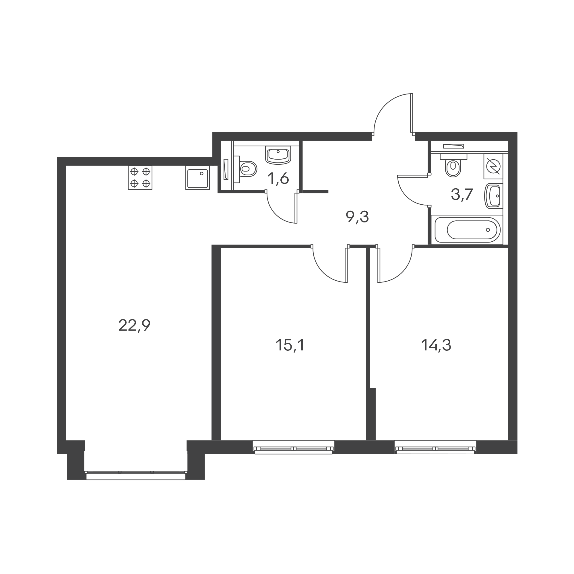 2-комнатная 66.9  м²