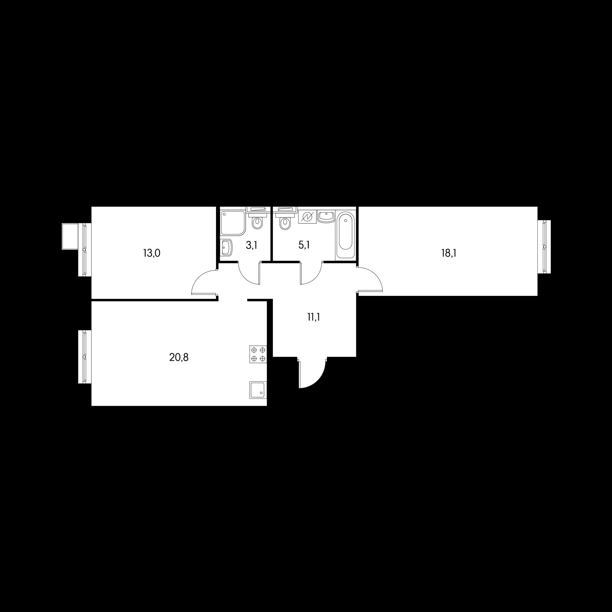 2-комнатная 69.4 м²