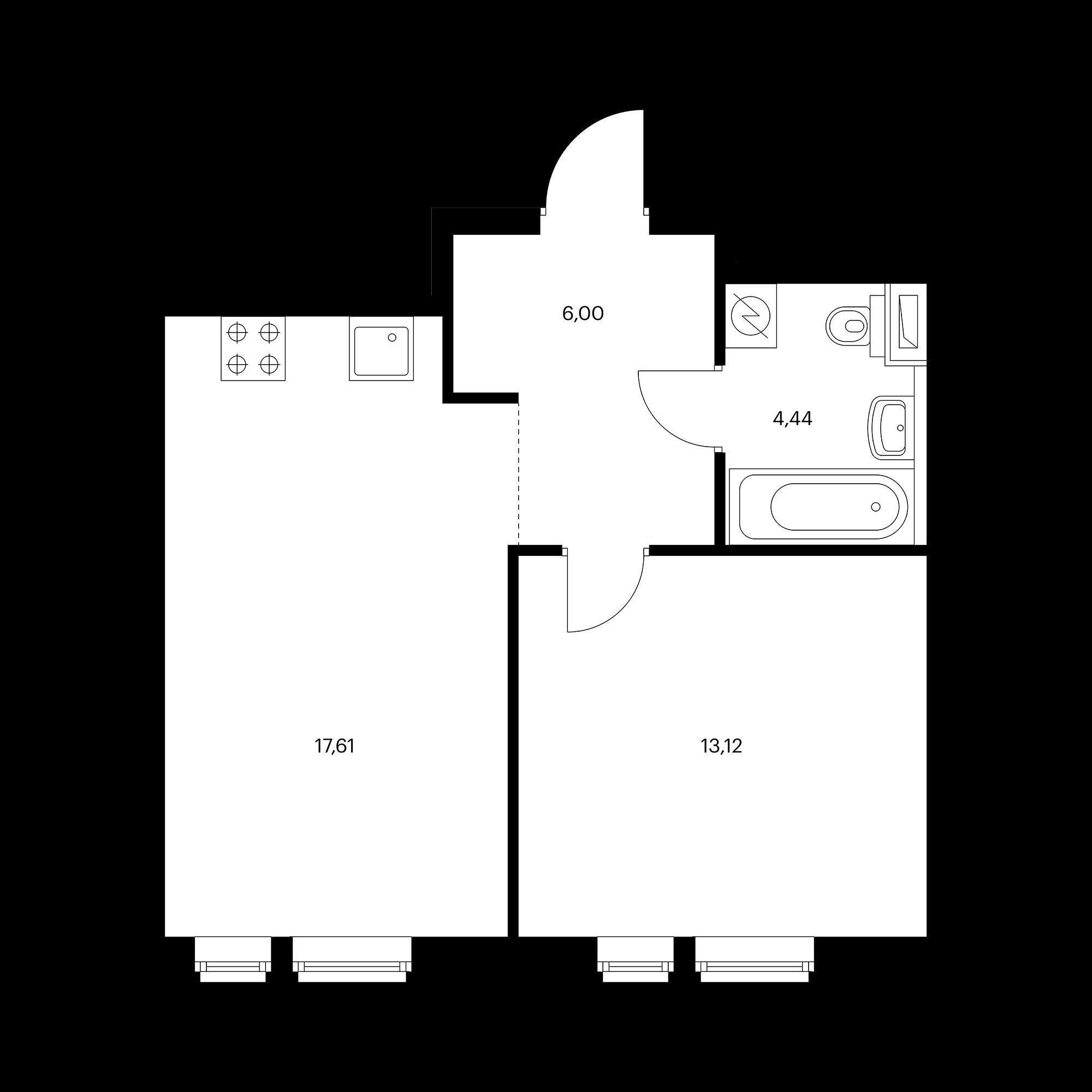 1-комнатная 41.17 м²