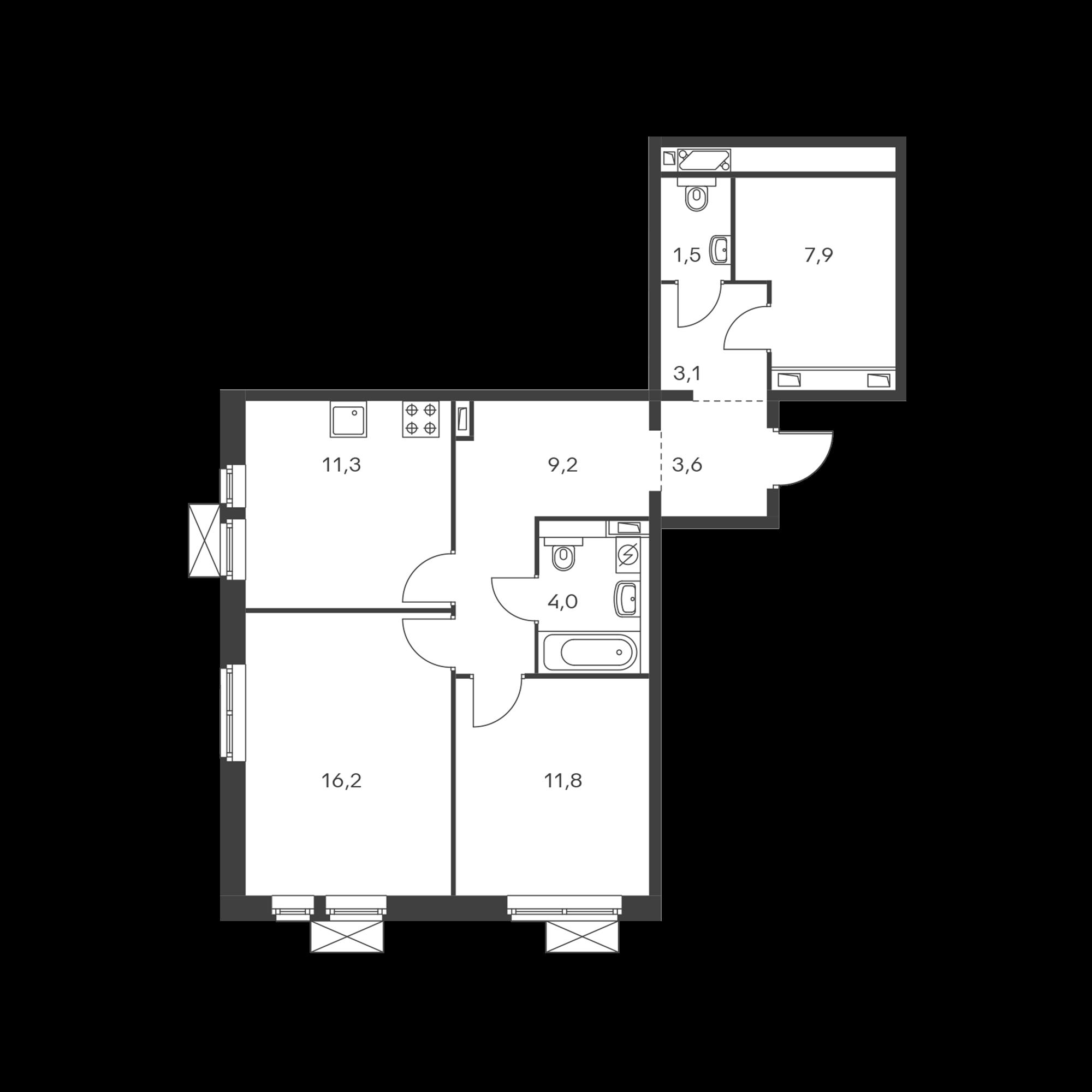 2-комнатная 68.6  м²