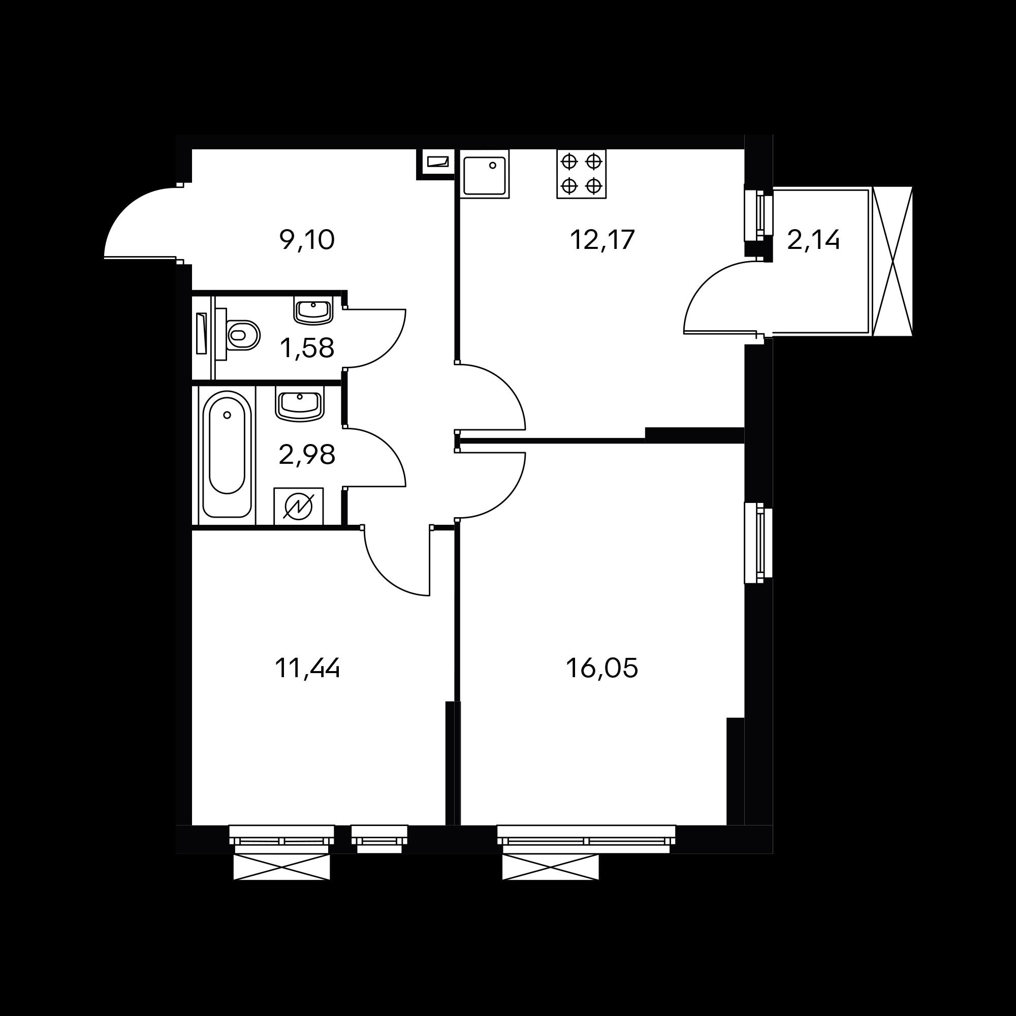 2-комнатная 53.94  м²