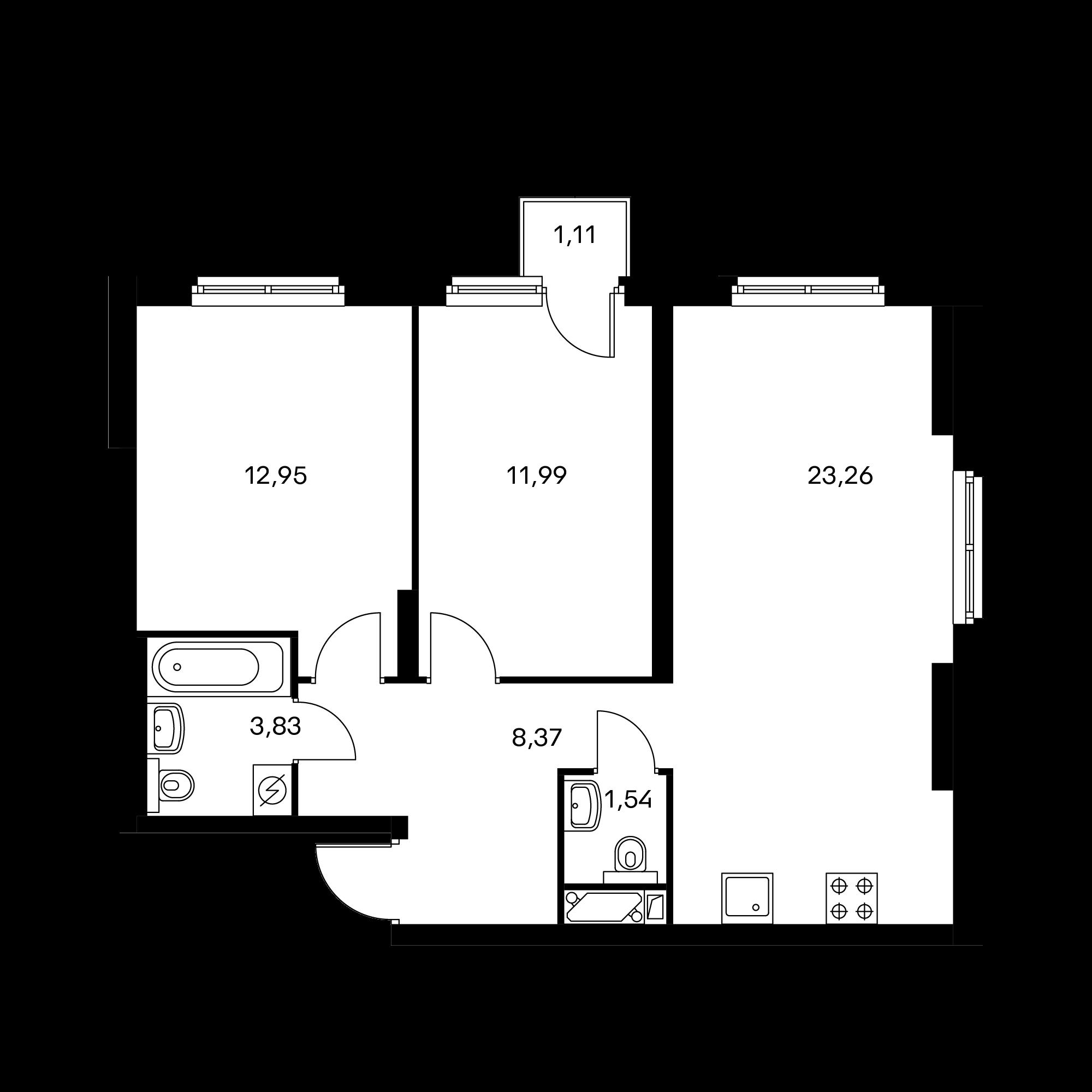 2-комнатная 62.27 м²